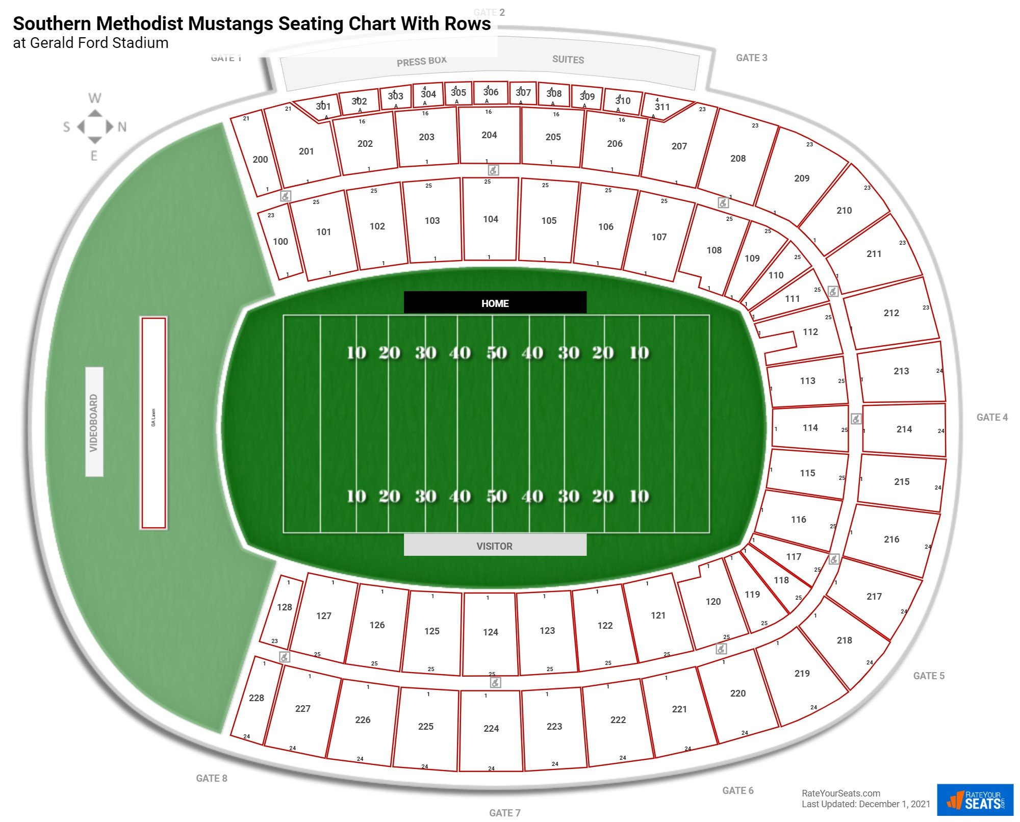Gerald Ford Stadium seating chart with rows