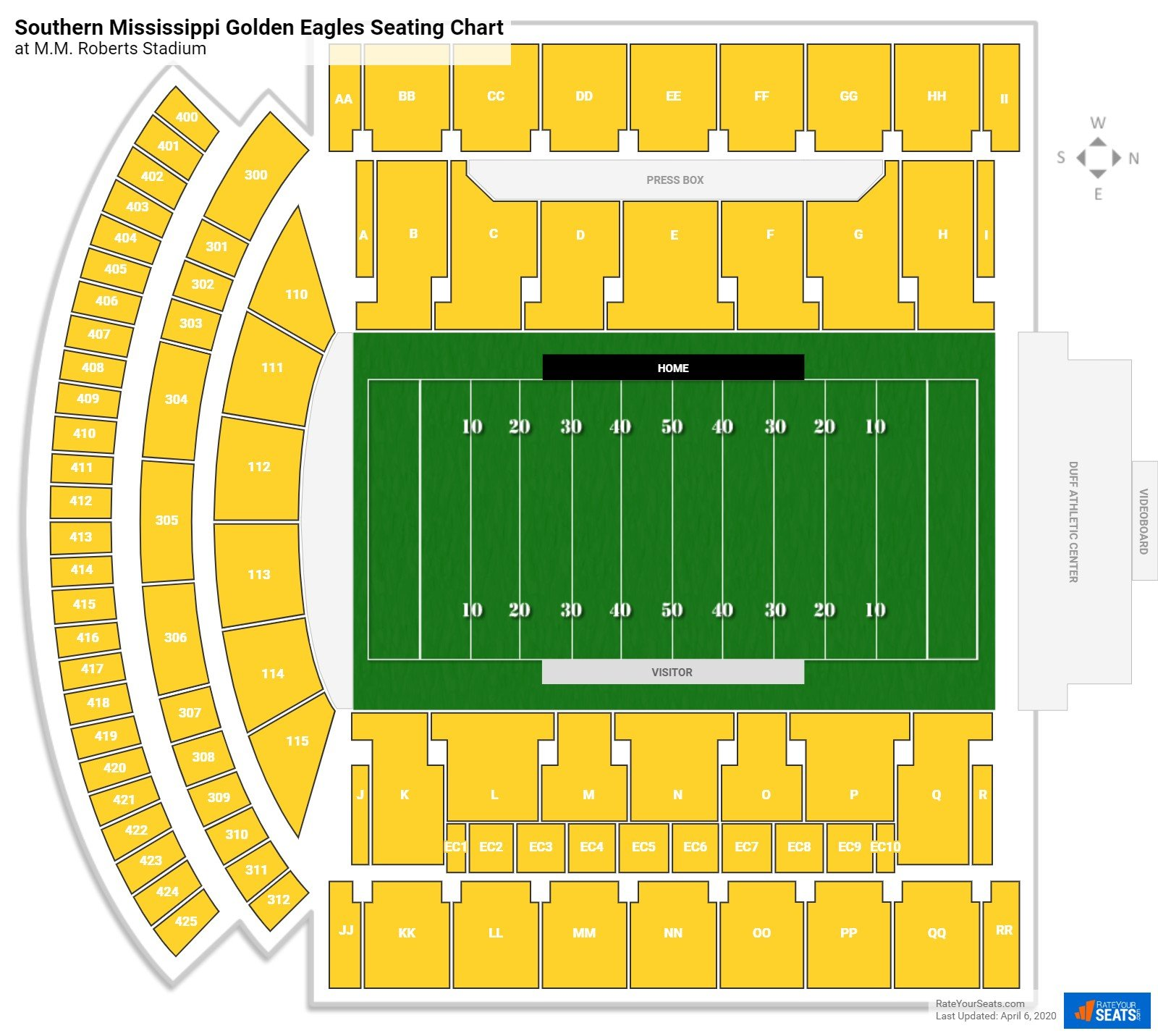 Southern Miss Football Seating Chart