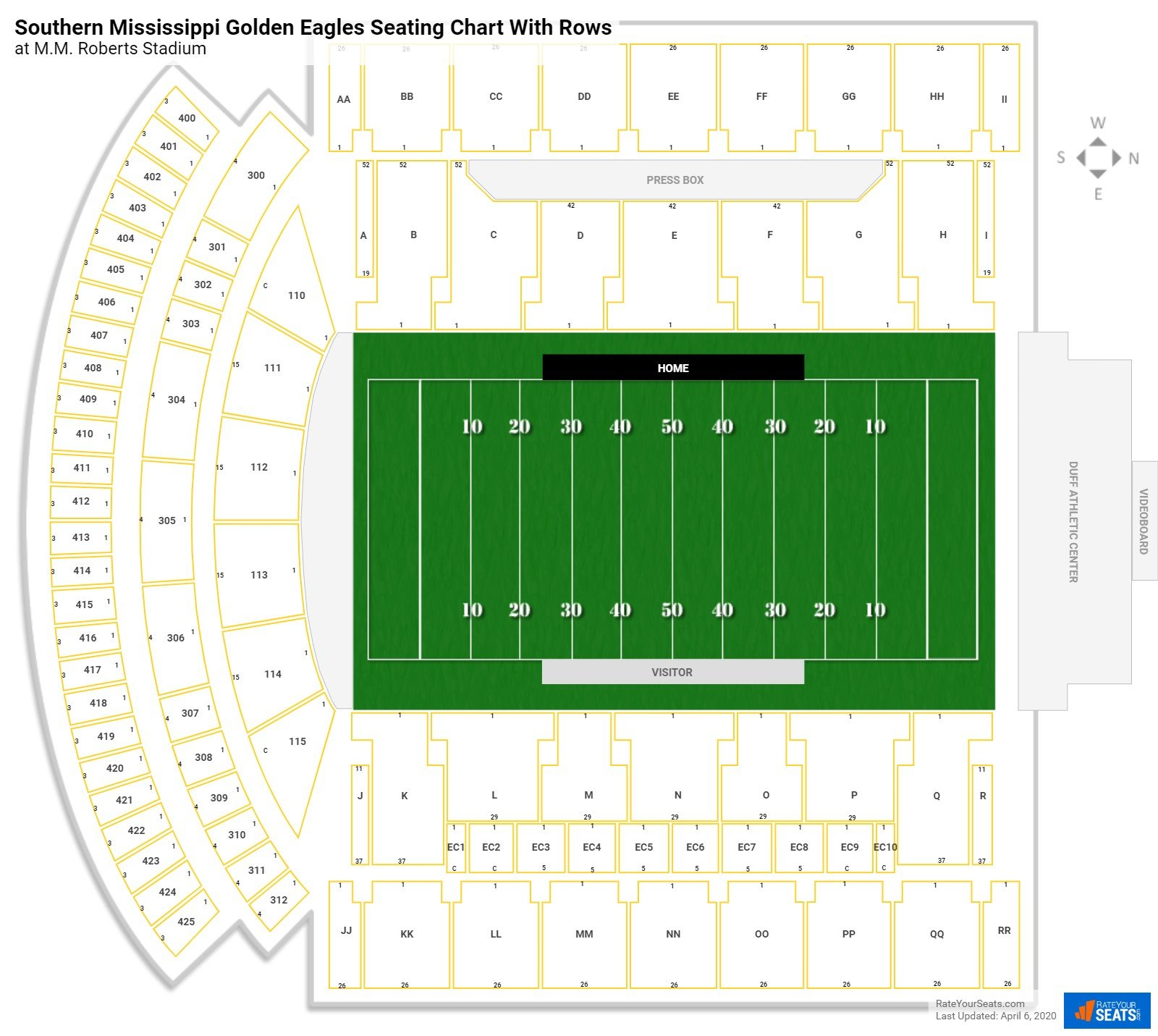 M.M. Roberts Stadium seating chart with rows