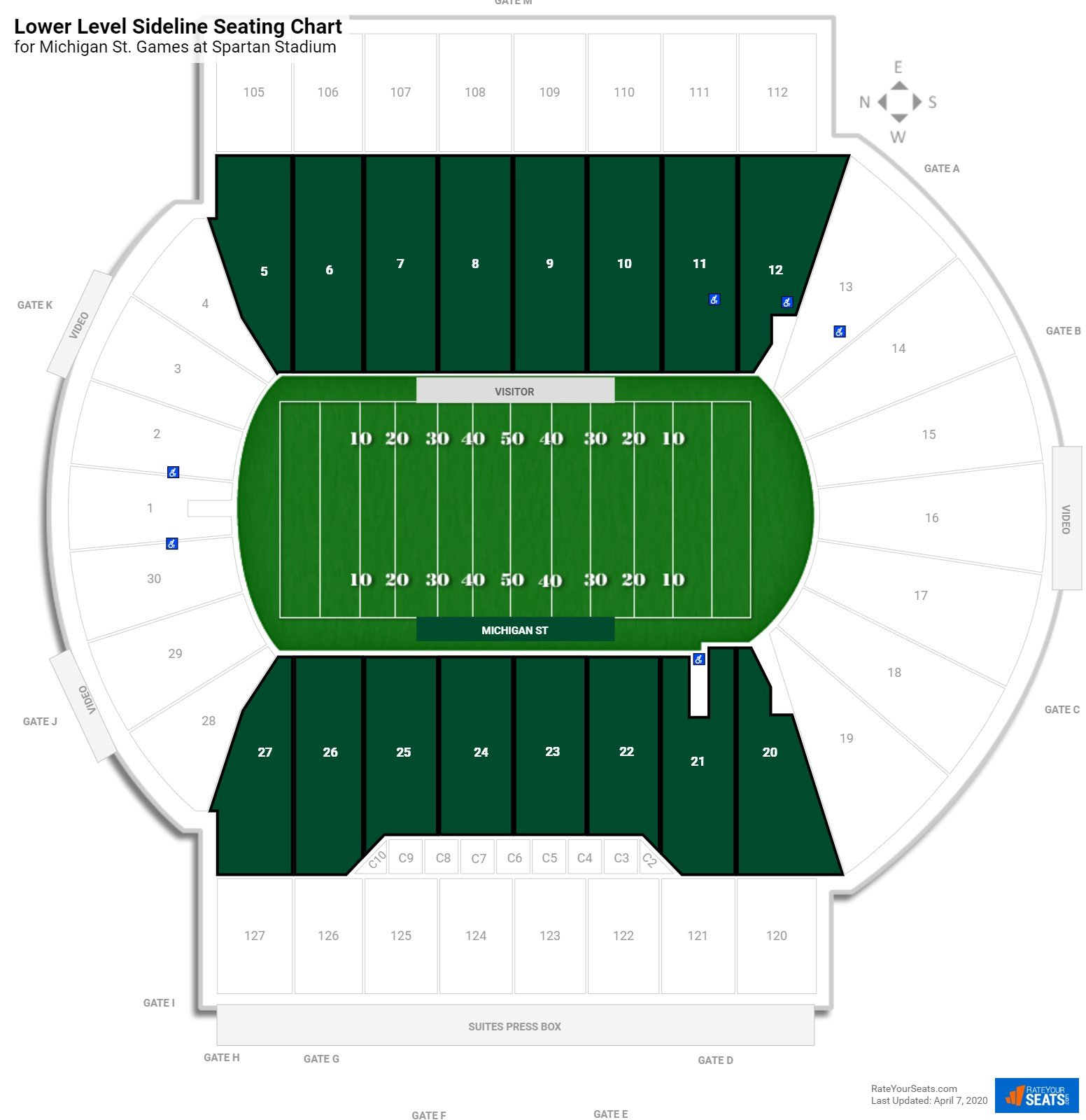 Spartan Stadium Lower Level Sideline seating chart