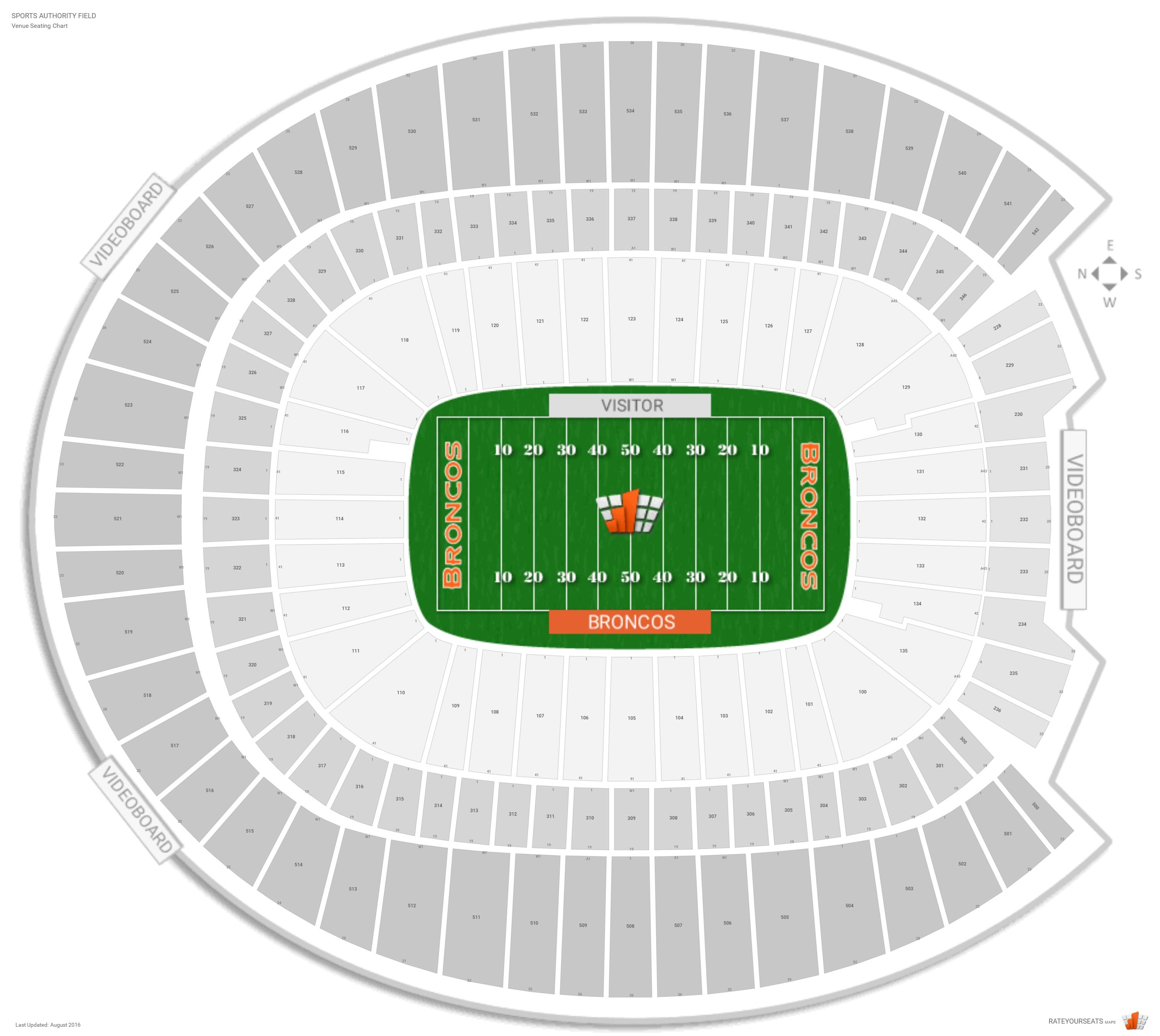 Sports Authority Field Seating Chart with Row Numbers