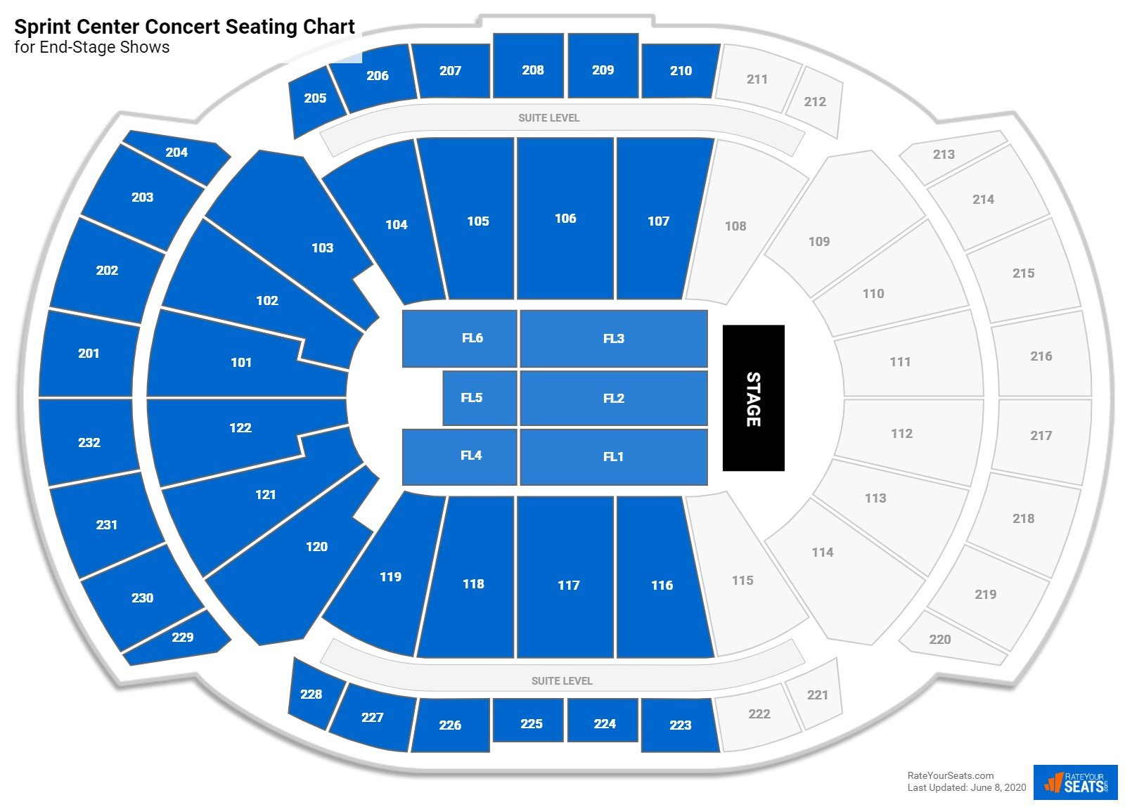 T-Mobile Center Seating Chart for Concerts
