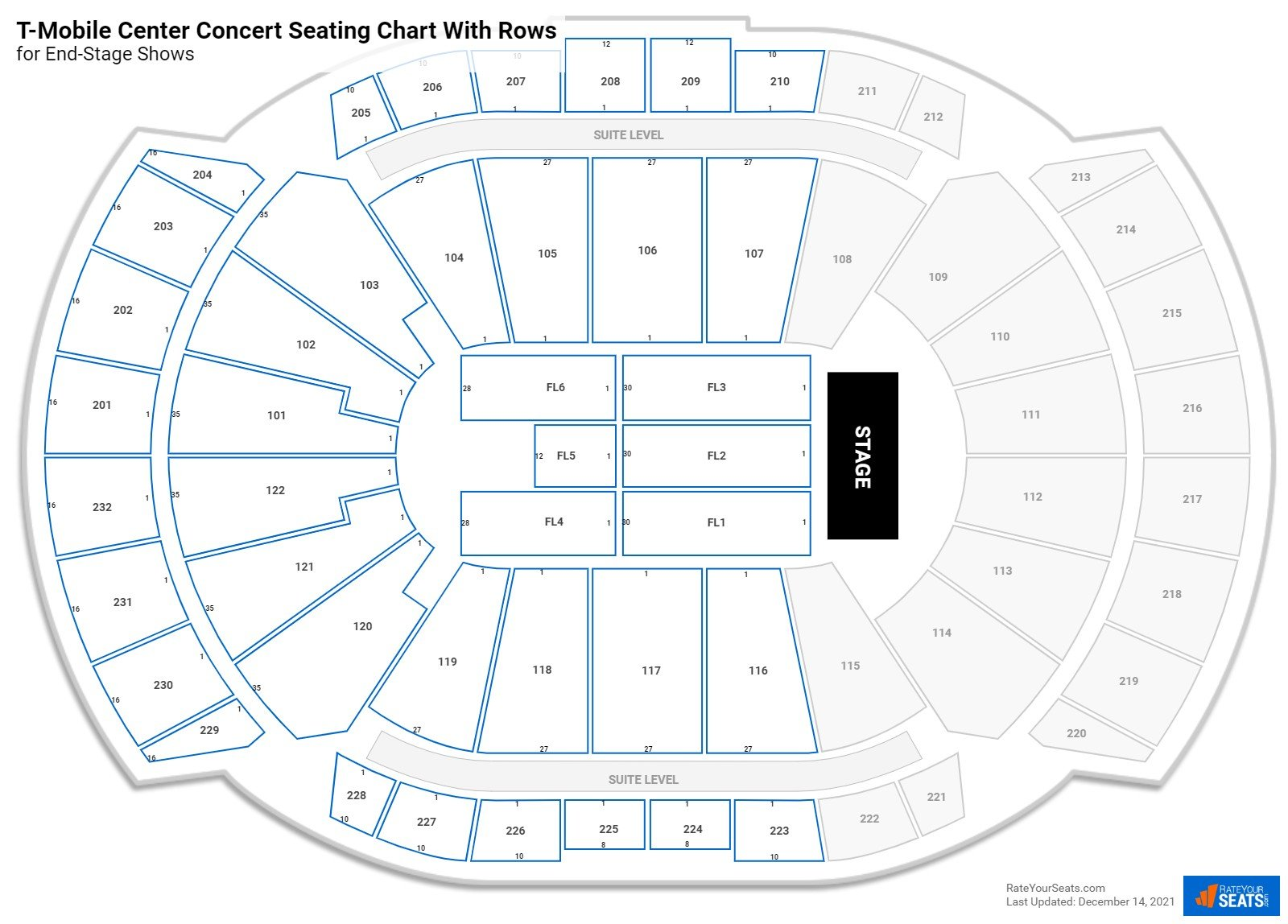T-Mobile Center seating chart with rows concert