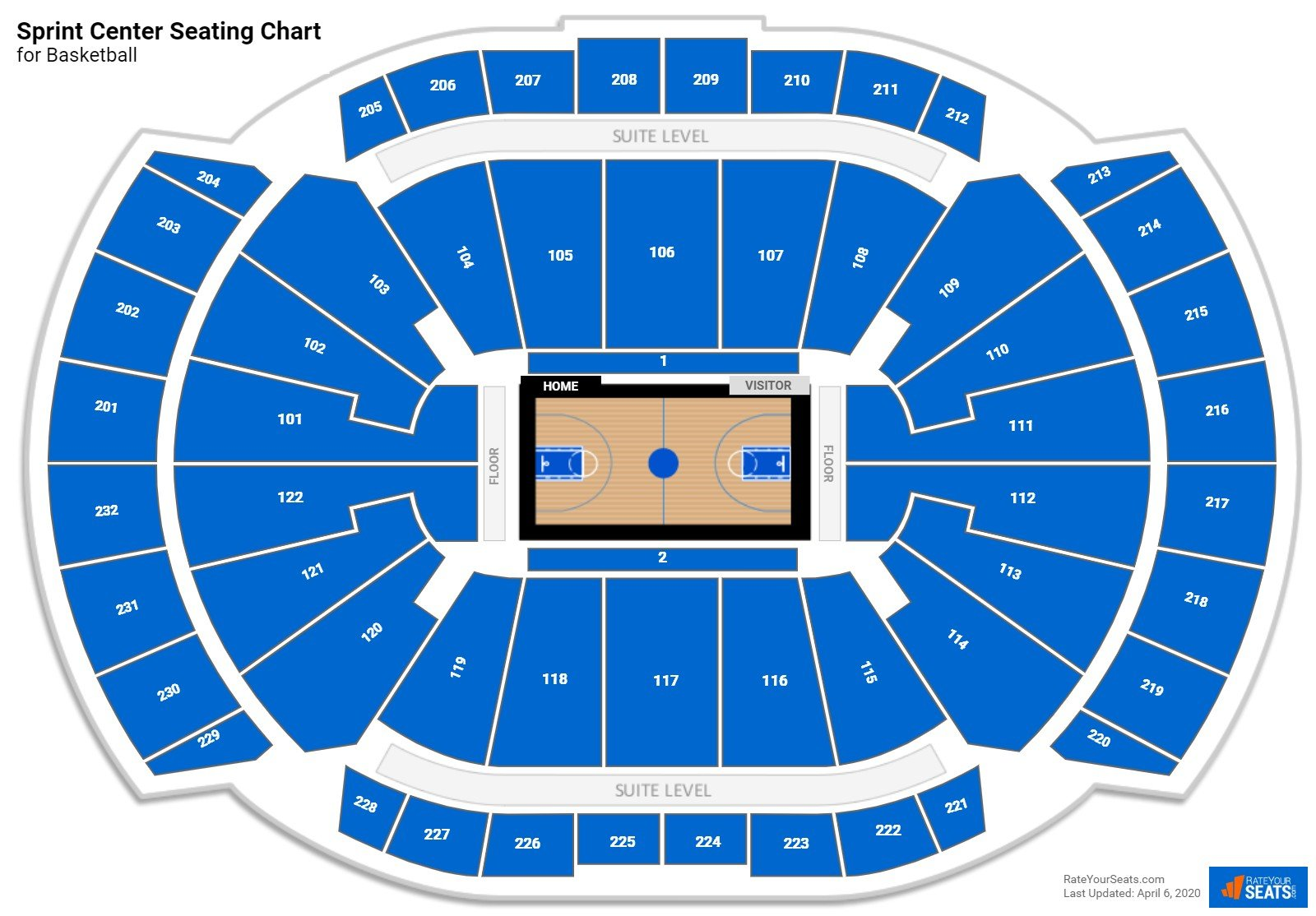 Sprint Center Seating Chart for Basketball