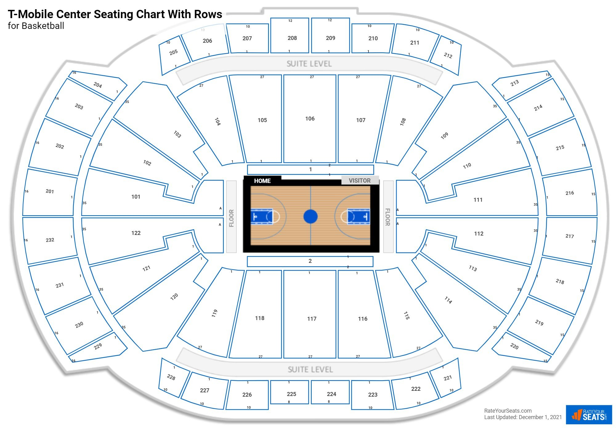 Sprint Center seating chart with rows basketball