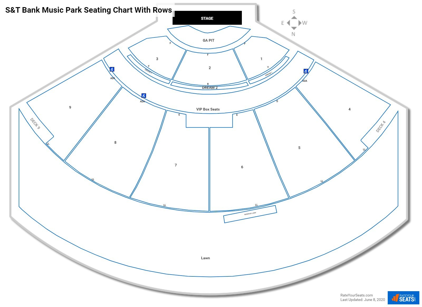 The Pavilion at Star Lake seating chart with rows