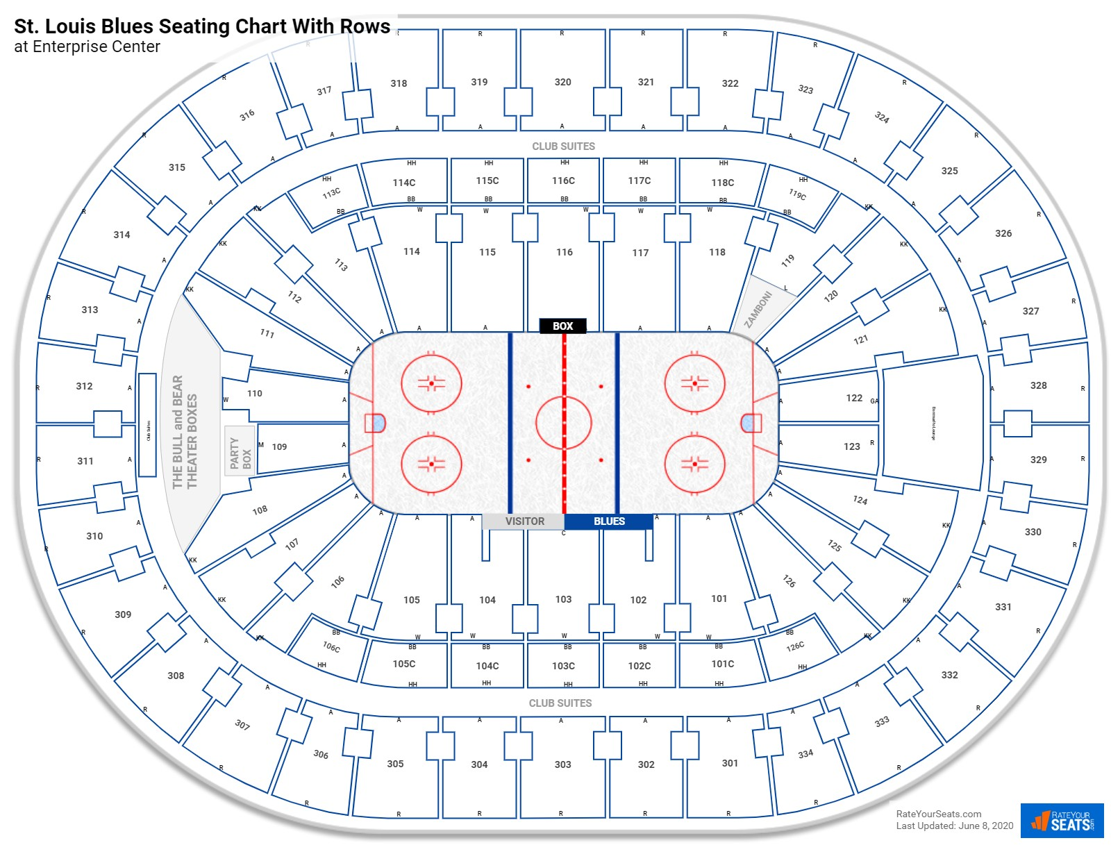 Enterprise Center seating chart with rows hockey