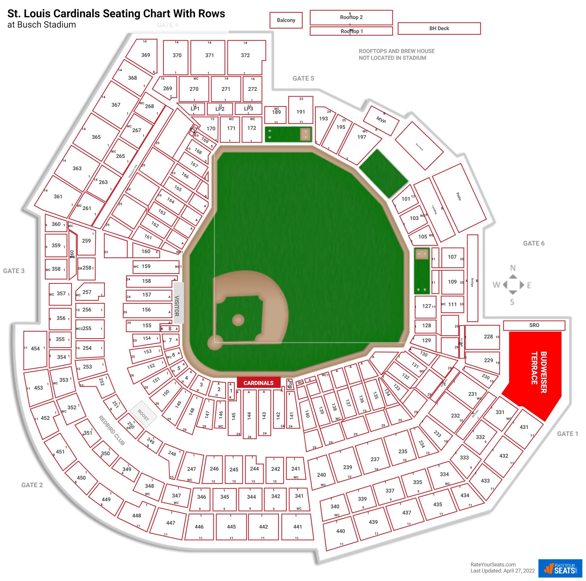 Busch Stadium seating chart with rows