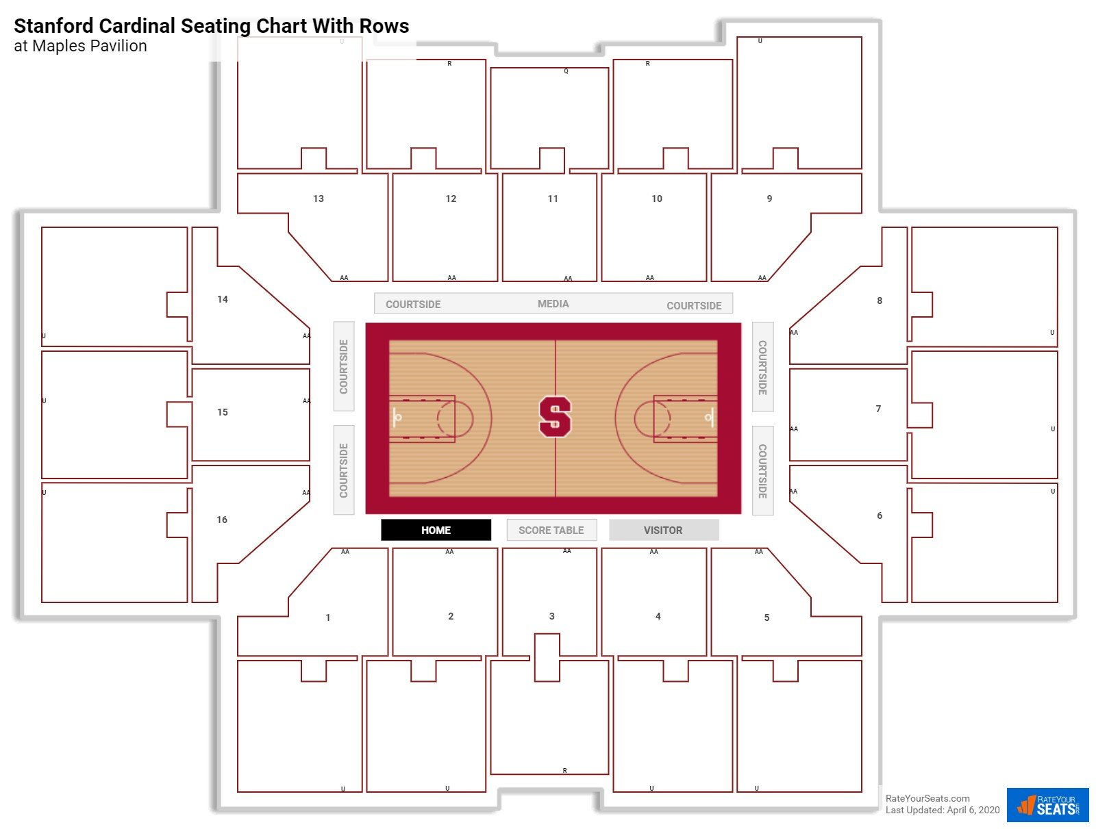 Maples Pavilion seating chart with rows