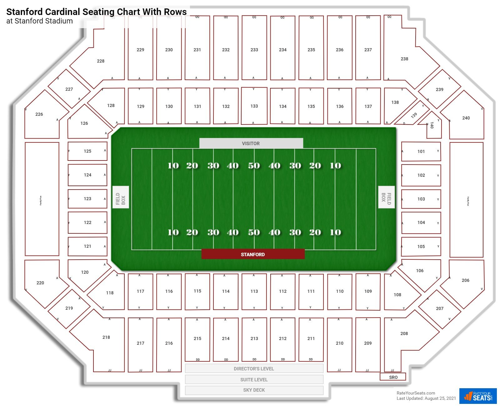 Stanford Stadium seating chart with rows