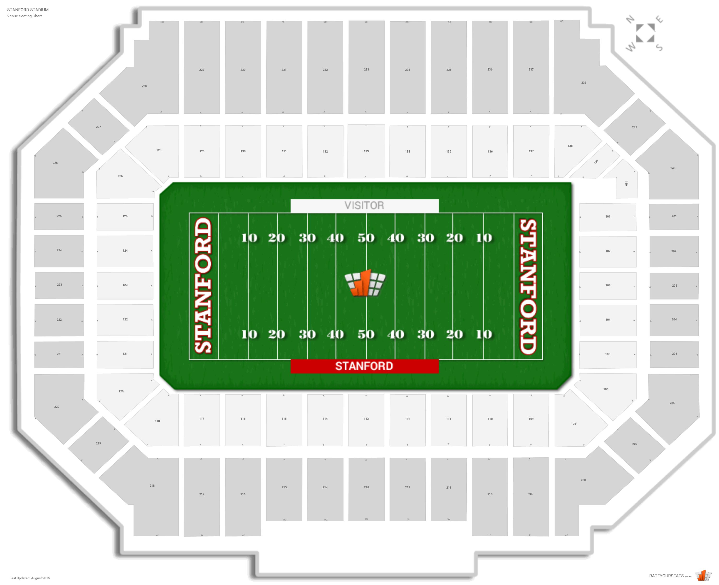 Stanford Stadium Seating Chart with Row Numbers