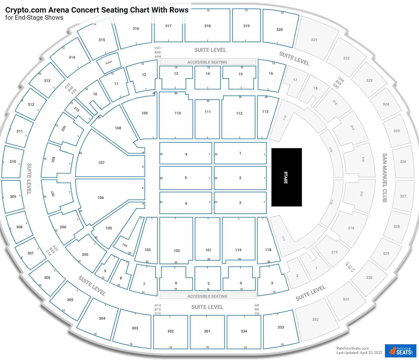 Staples Center seating chart with rows concert