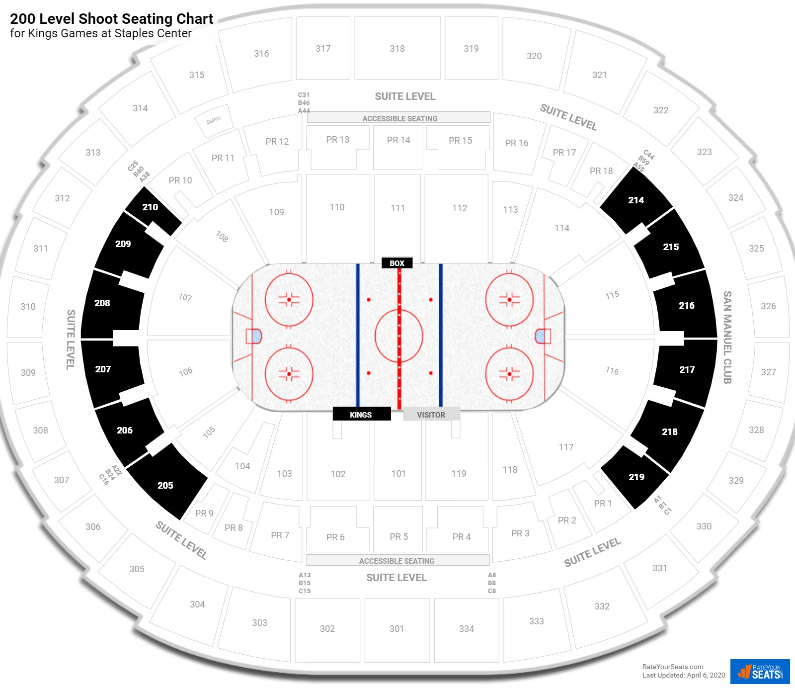 Staples Center 200 Level Behind the Net seating chart