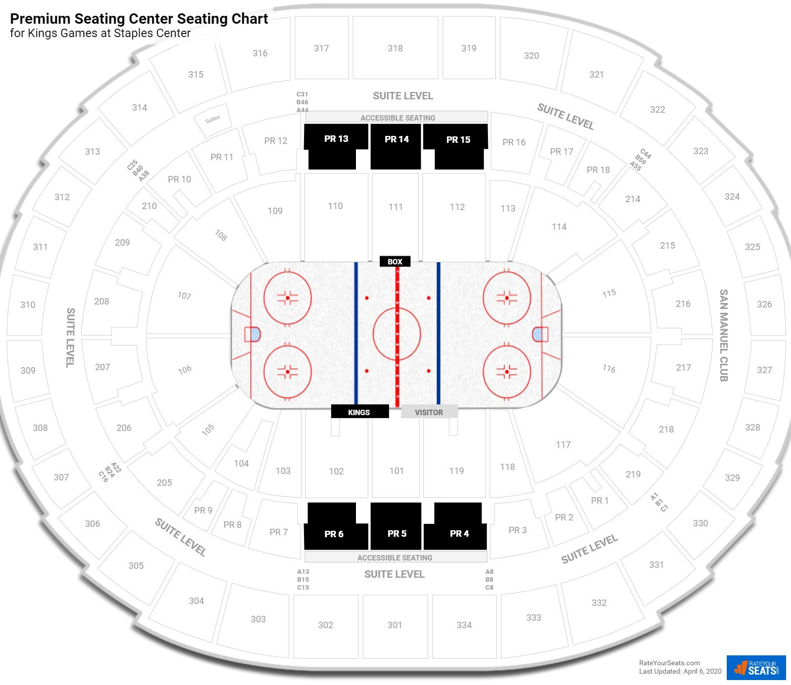 Staples Center Premium Seating Center seating chart