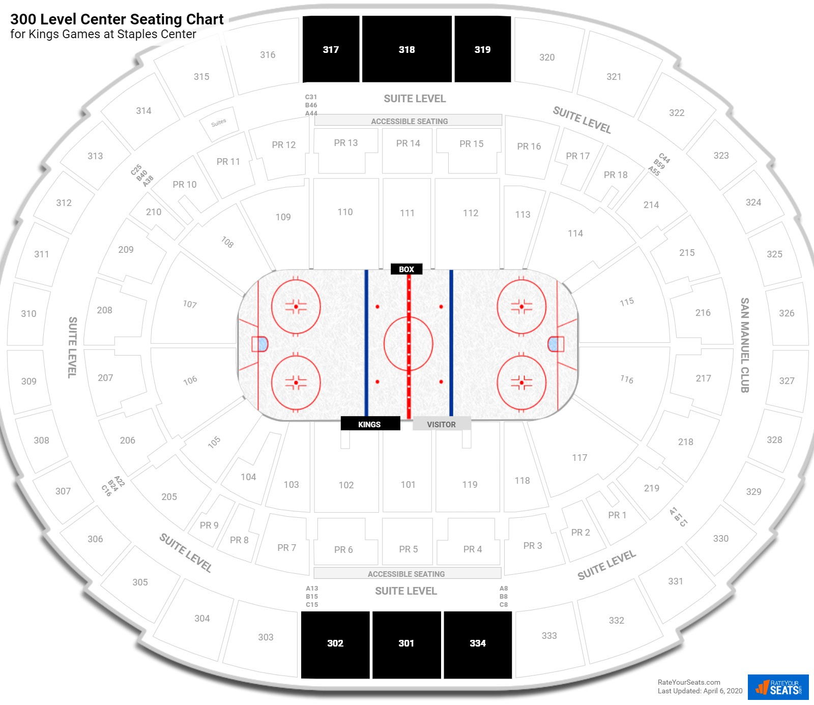 Staples Center Upper Concourse Center seating chart