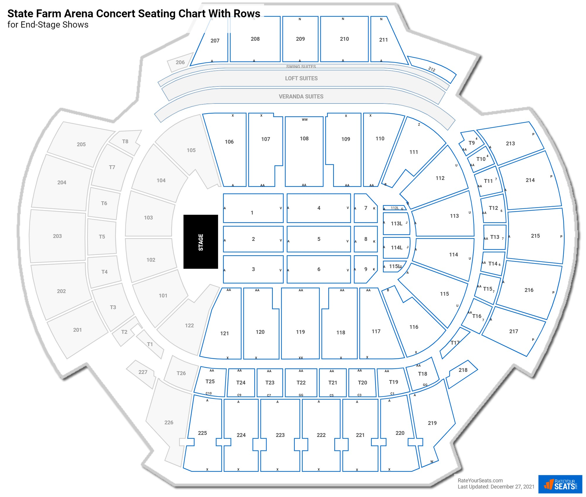 State Farm Arena seating chart with rows concert