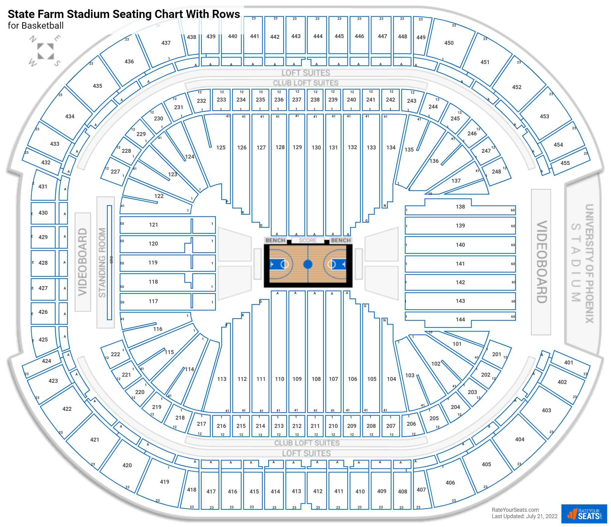 State Farm Stadium seating chart with rows basketball