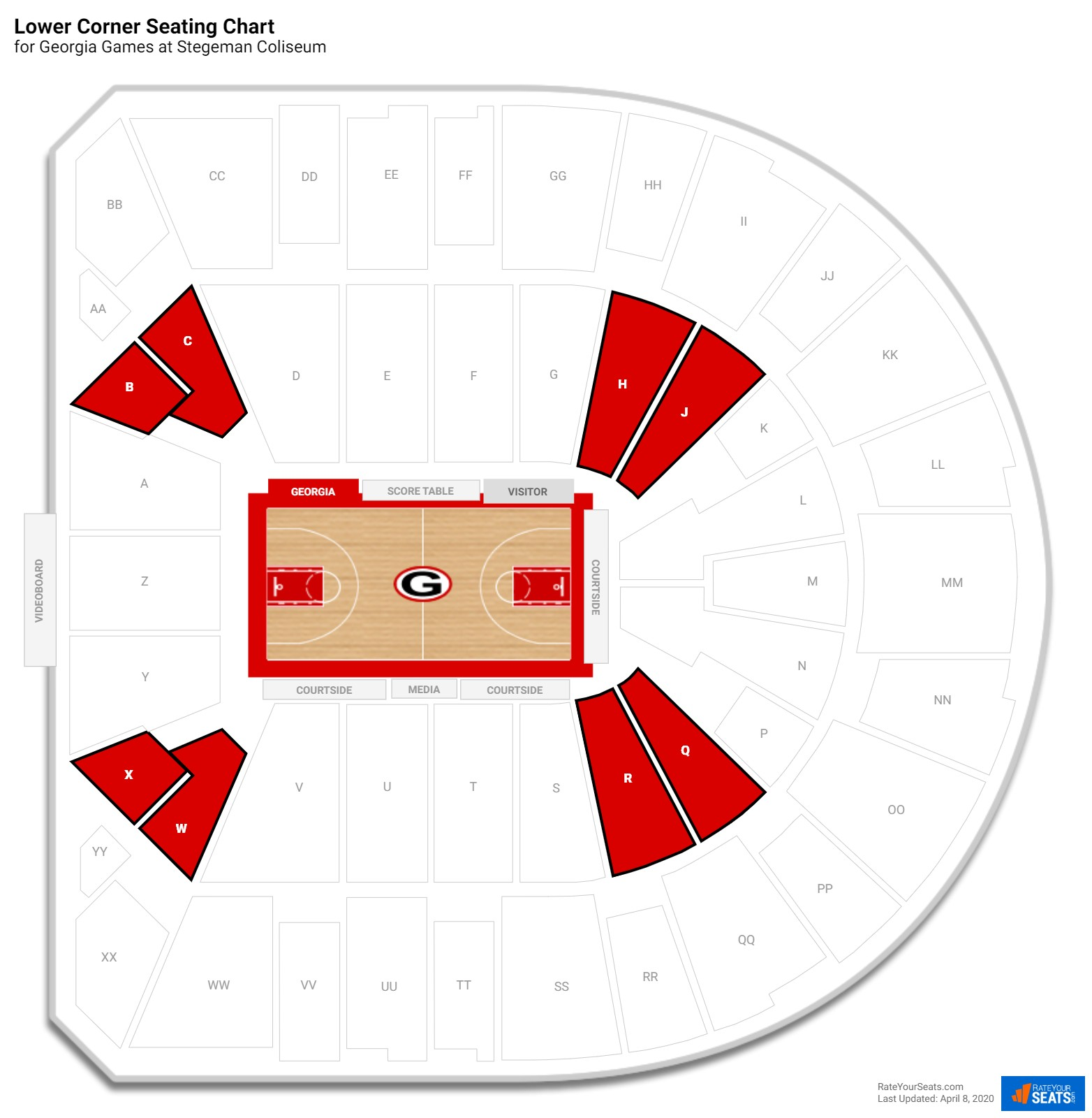 Stegeman Coliseum Lower Corner seating chart