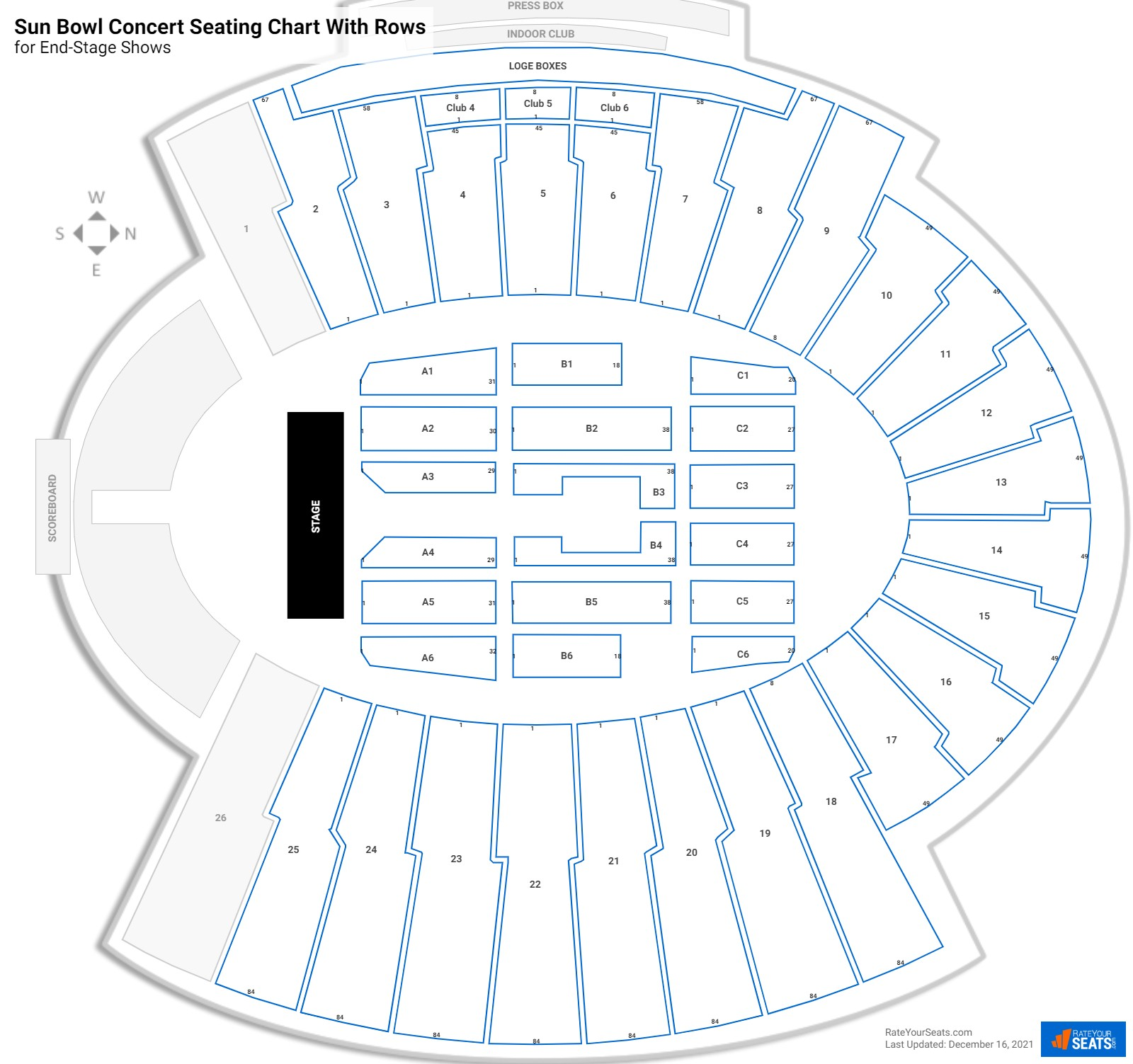 Sun Bowl seating chart with rows concert