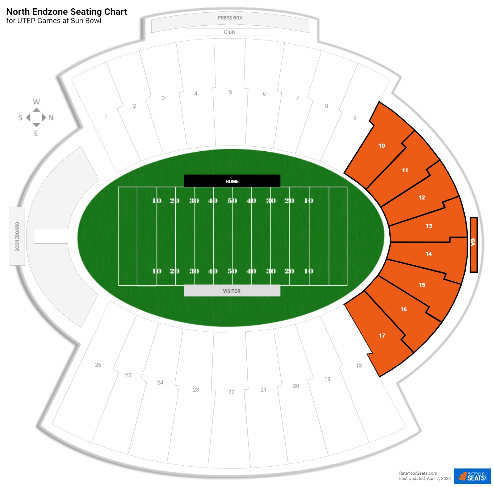 Sun Bowl North Endzone seating chart