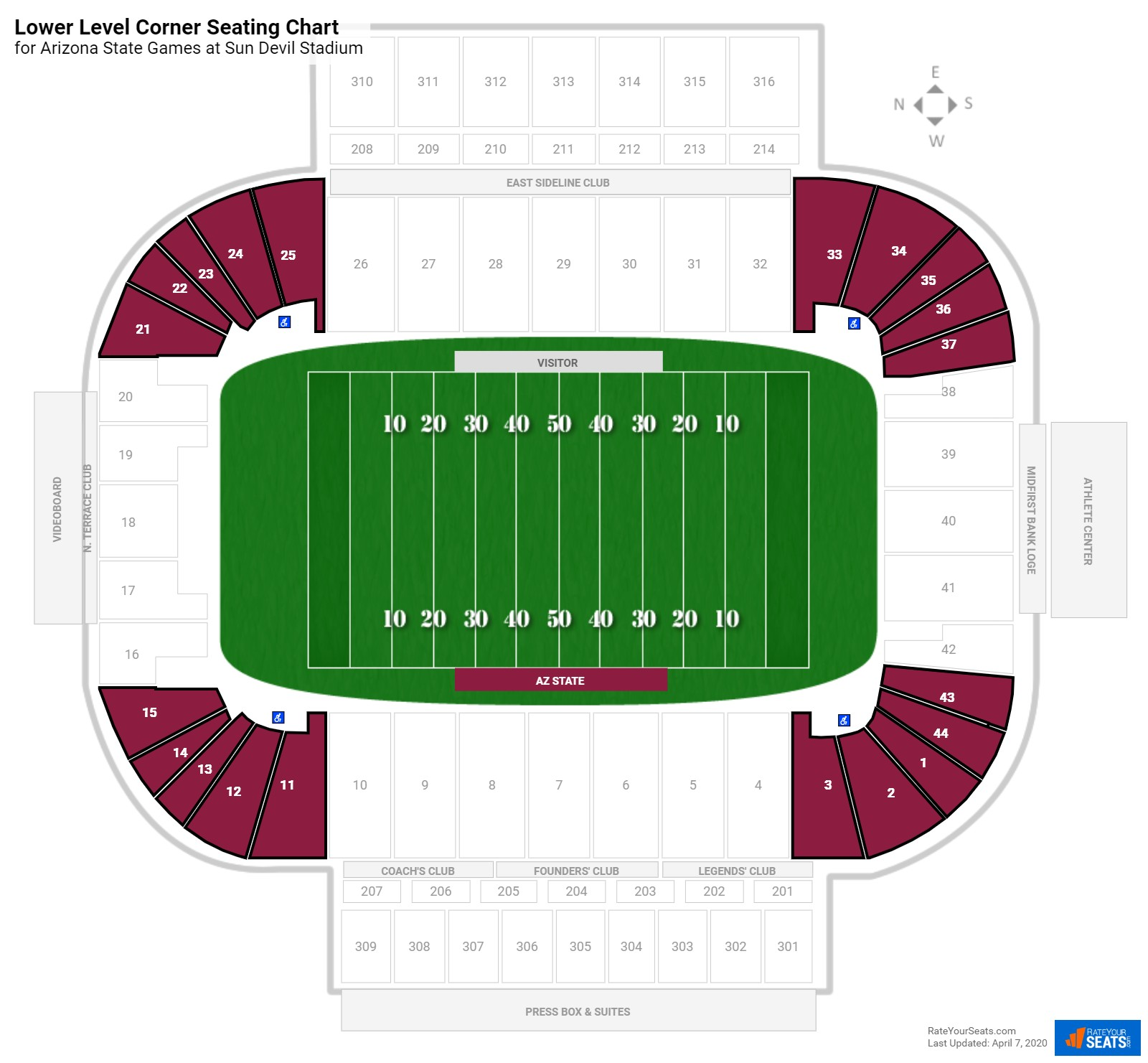 Sun Devil Stadium Lower Level Corner seating chart