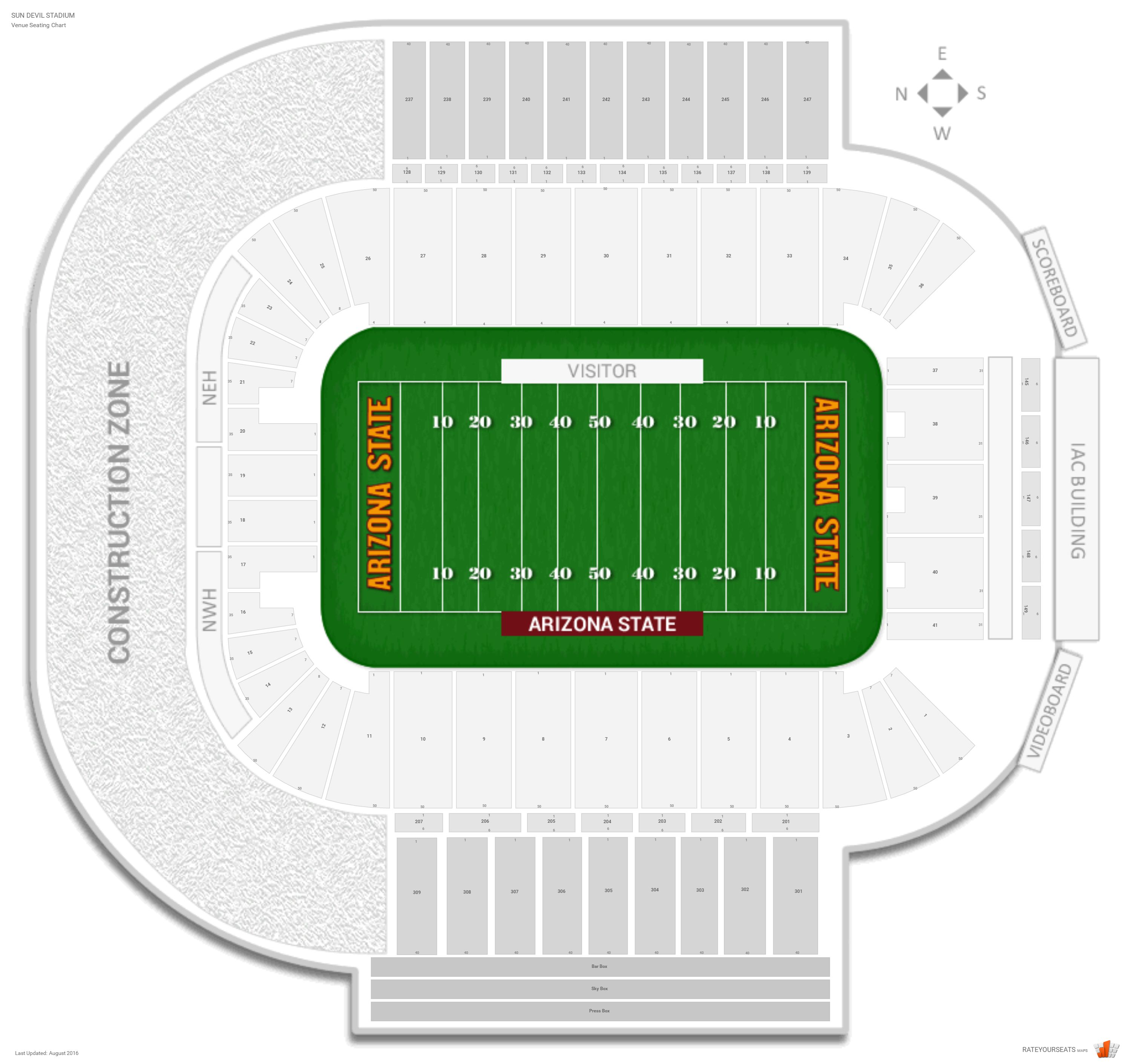 Sun devil stadium arizona state seating guide rateyourseats com