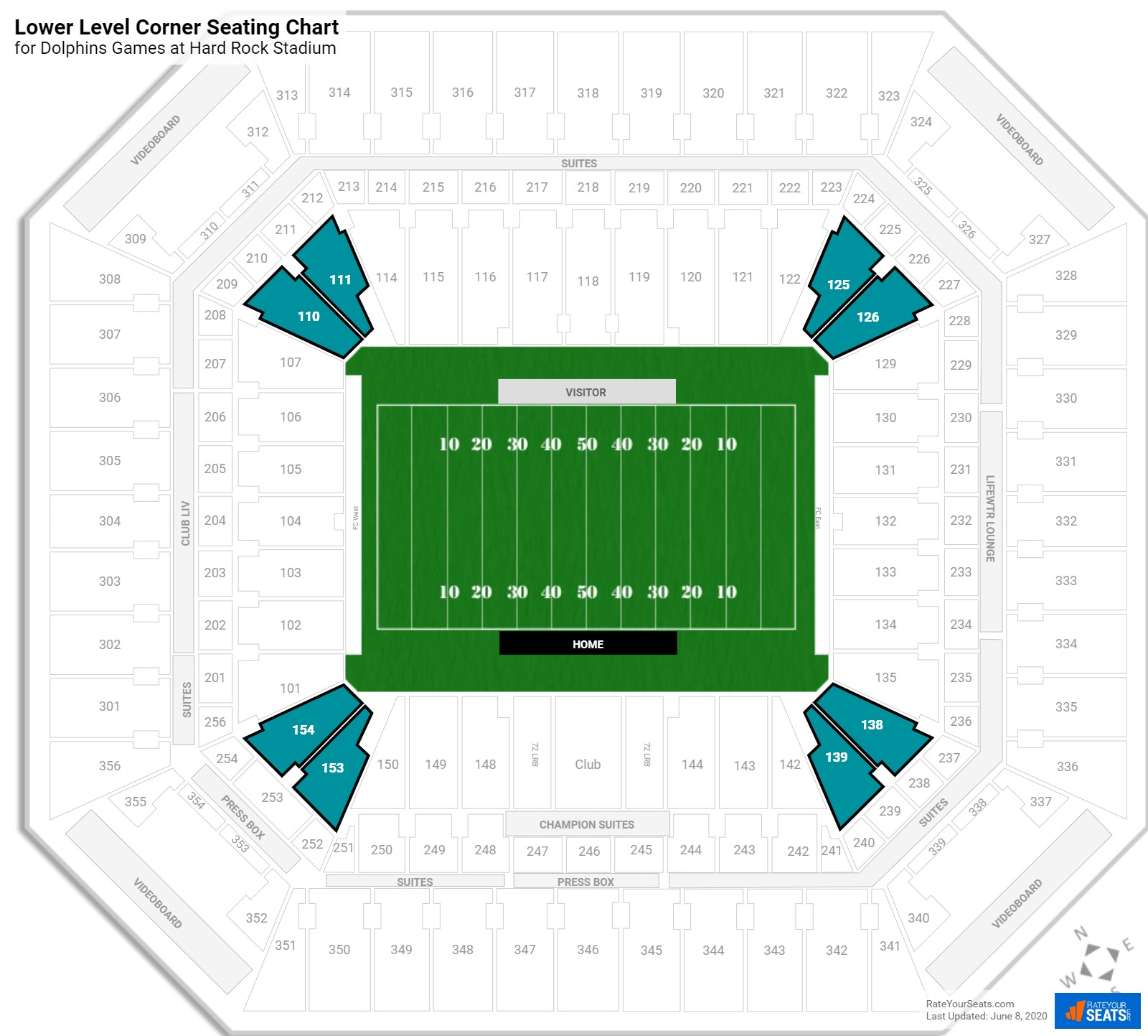 lower level corner - hard rock stadium football seating