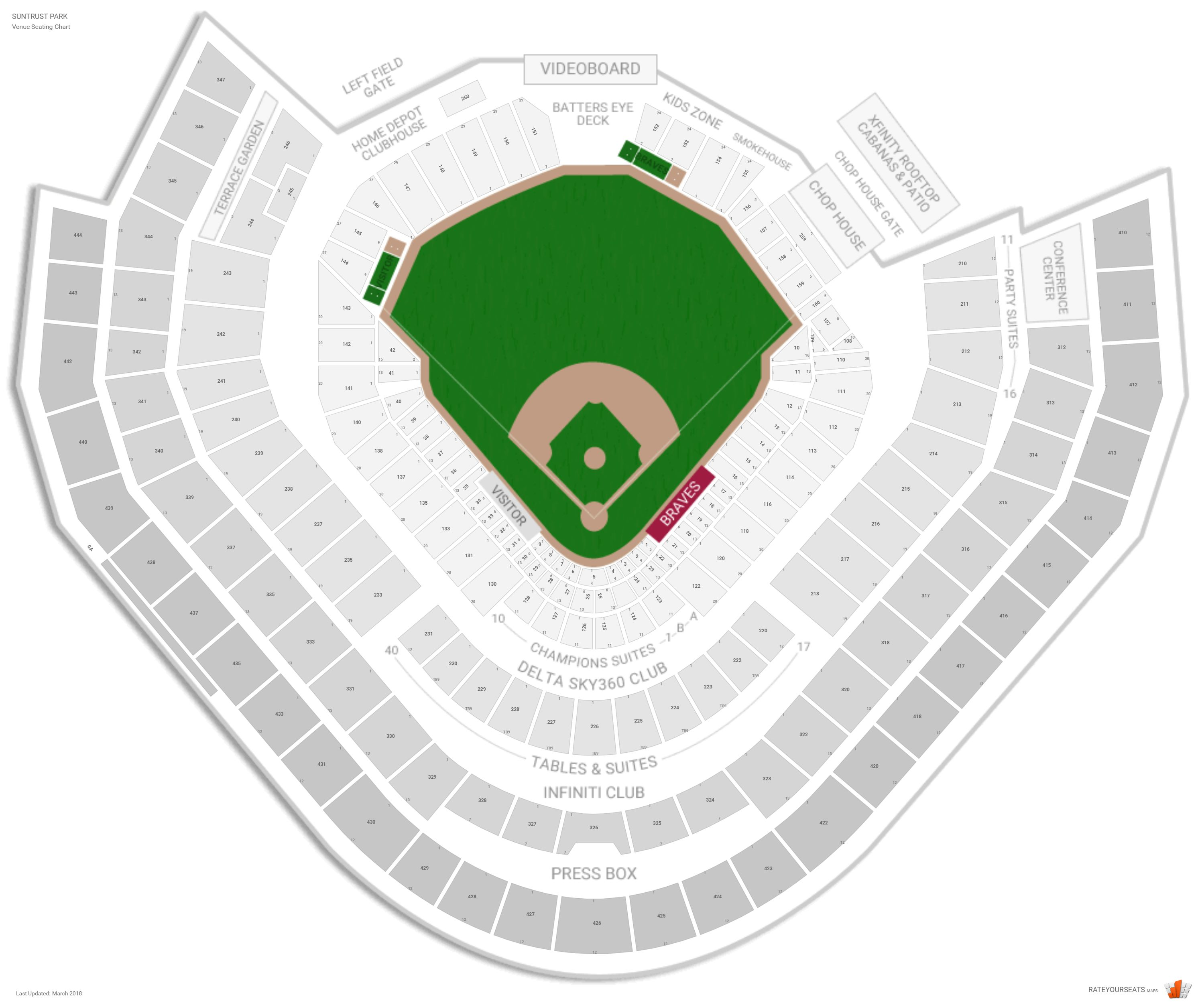 Atlanta Braves Seating Guide Suntrust Park Rateyourseatscom