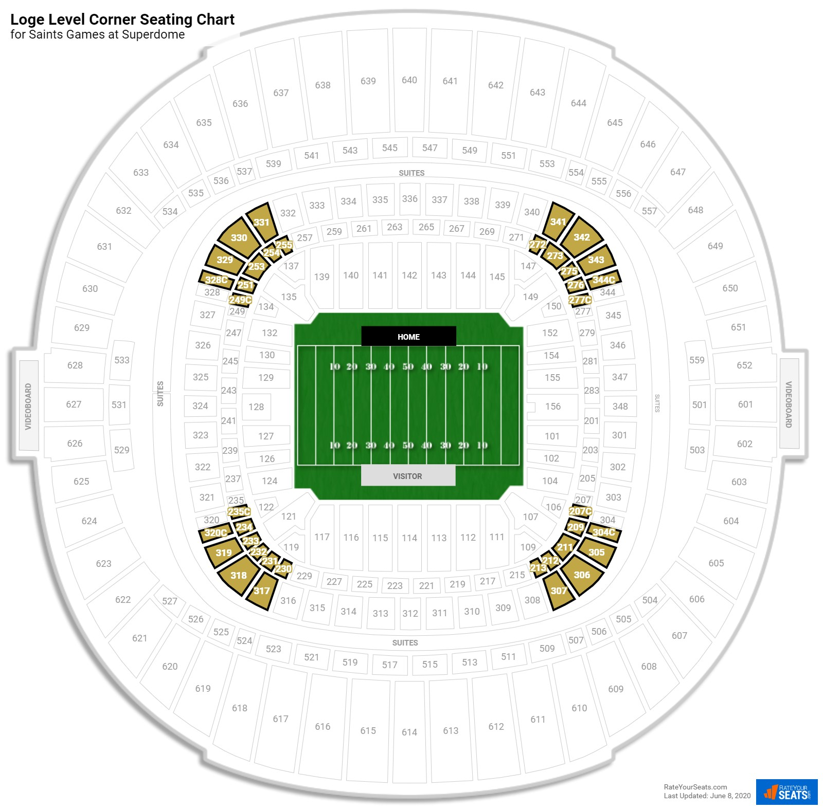 Superdome Loge Level Corner seating chart