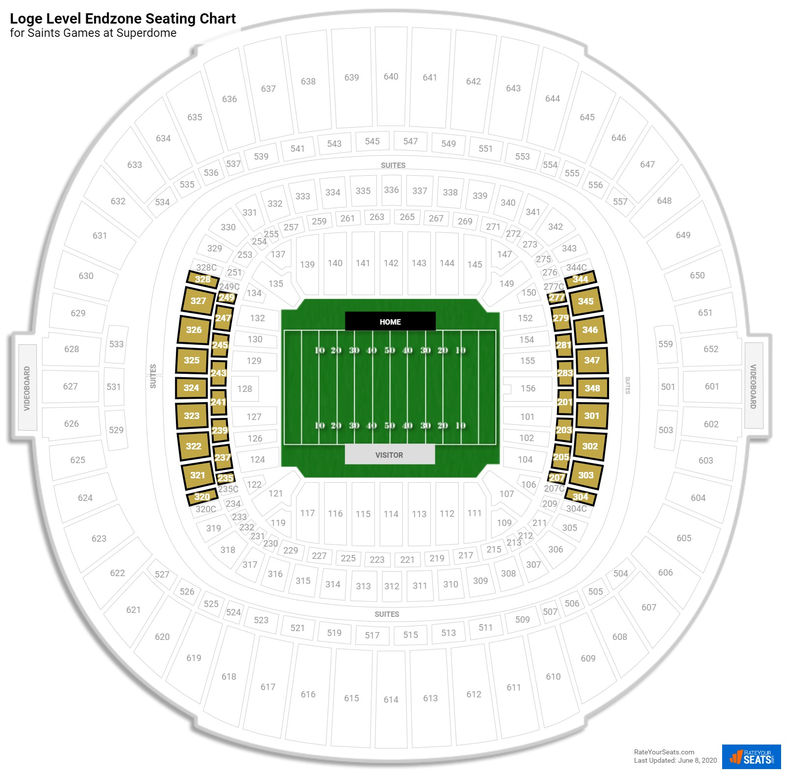 Superdome Loge Level Endzone seating chart