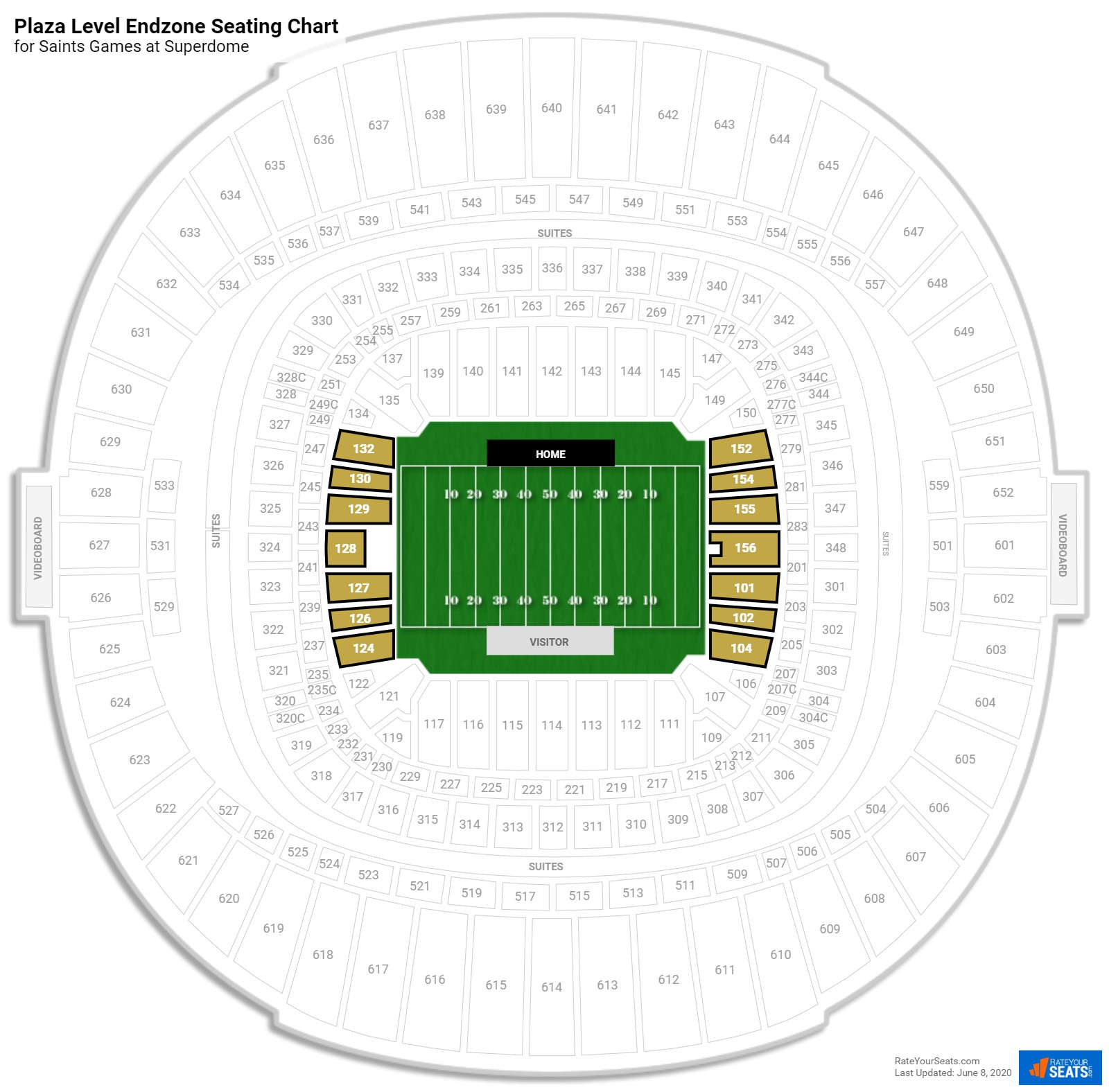 Superdome Plaza Level Endzone seating chart