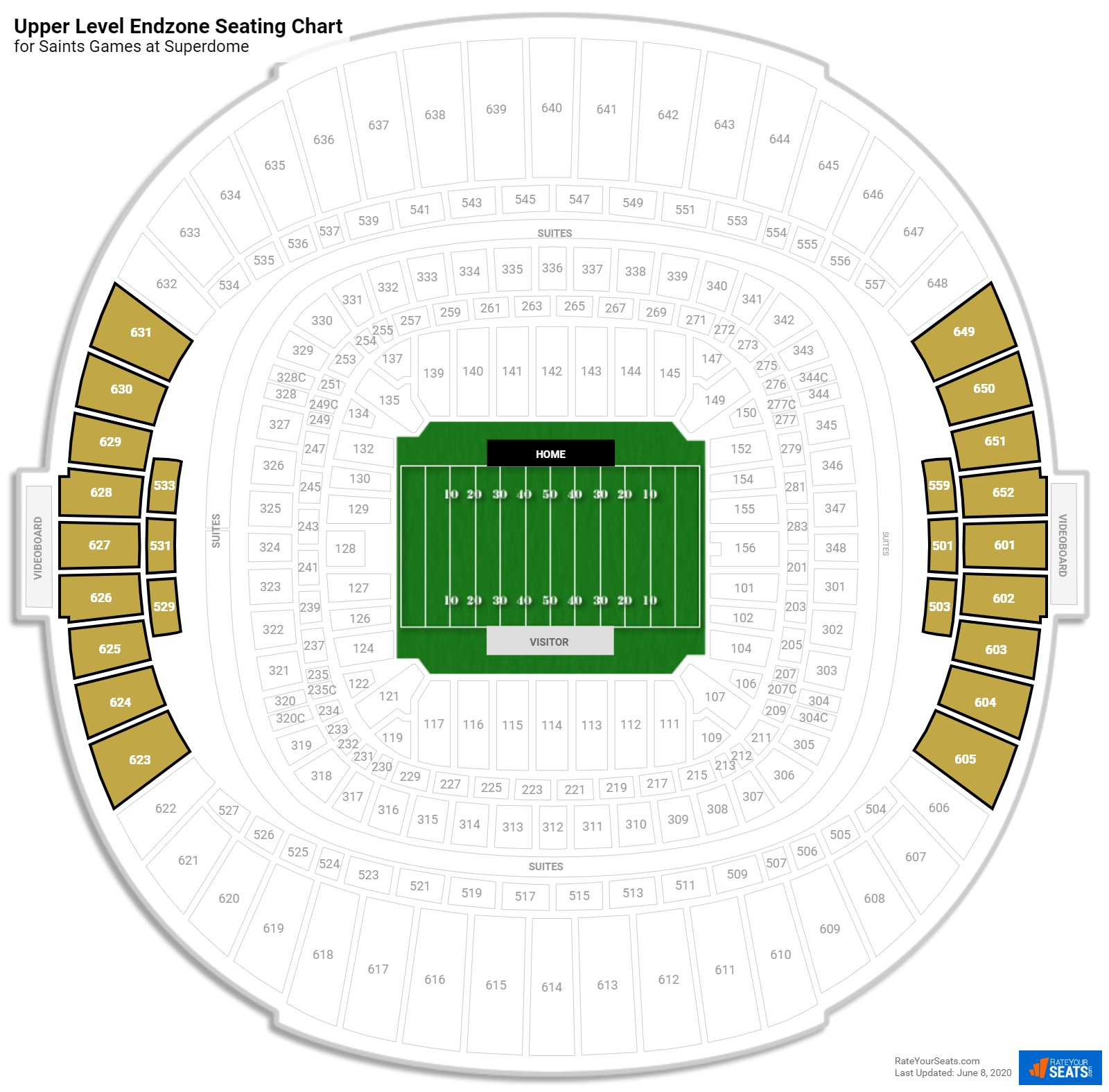 Superdome Upper Level Endzone seating chart