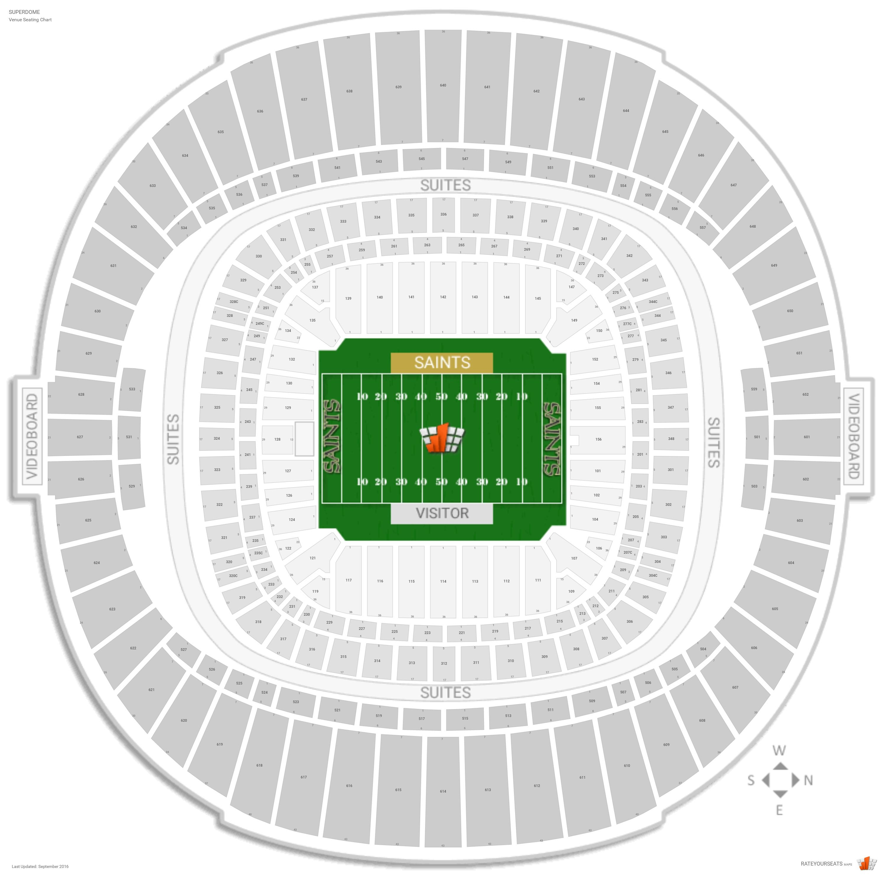 New orleans saints seating guide superdome for Mercedes benz superdome seating chart