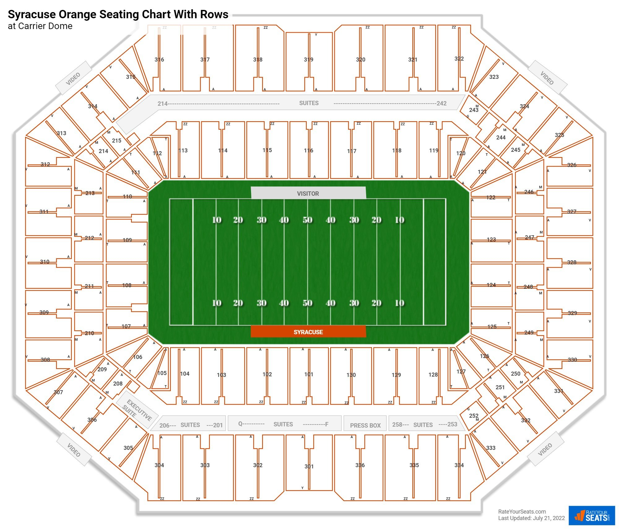 Carrier Dome seating chart with rows basketball