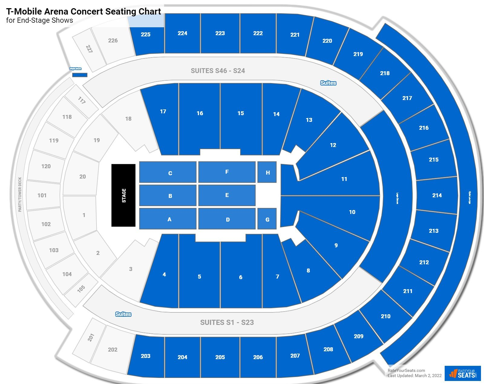 T Mobile Arena Seating Charts For Concerts Rateyourseats Com