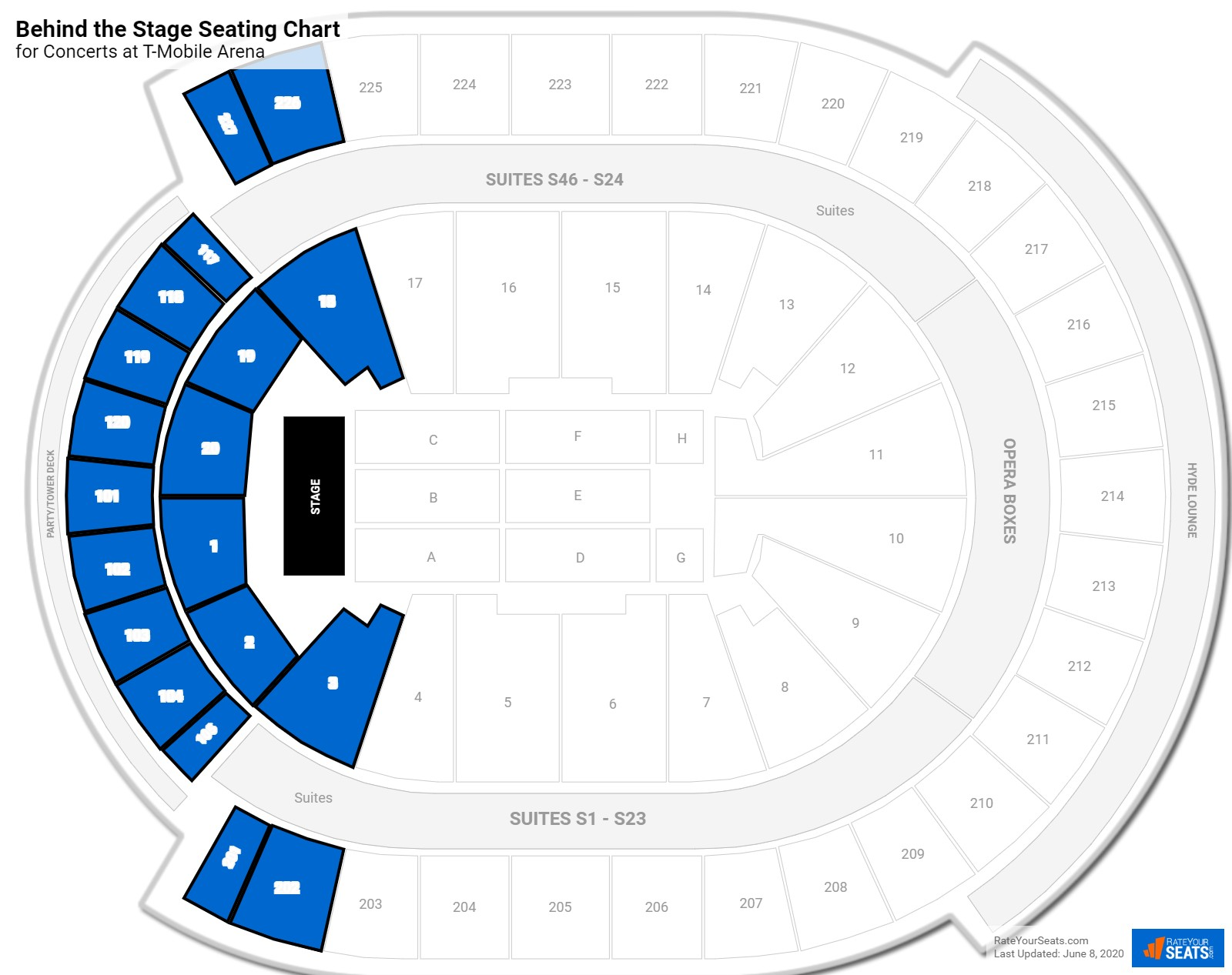 T-Mobile Arena Behind the Stage seating chart