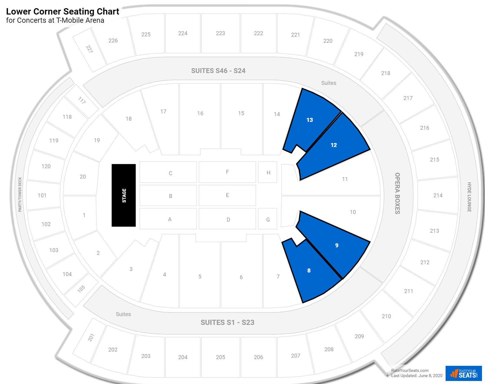 T-Mobile Arena Lower Corner seating chart