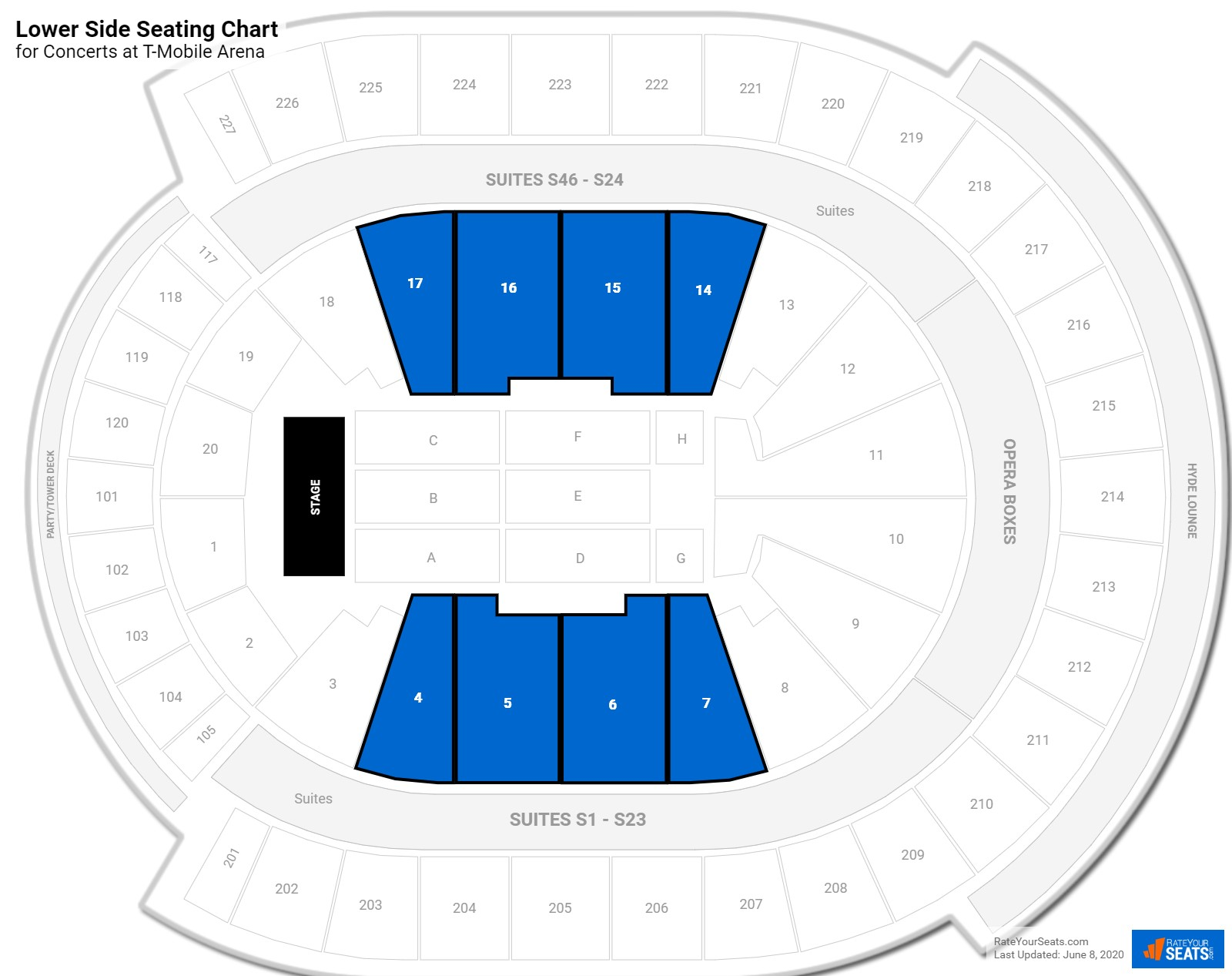T-Mobile Arena Lower Side seating chart
