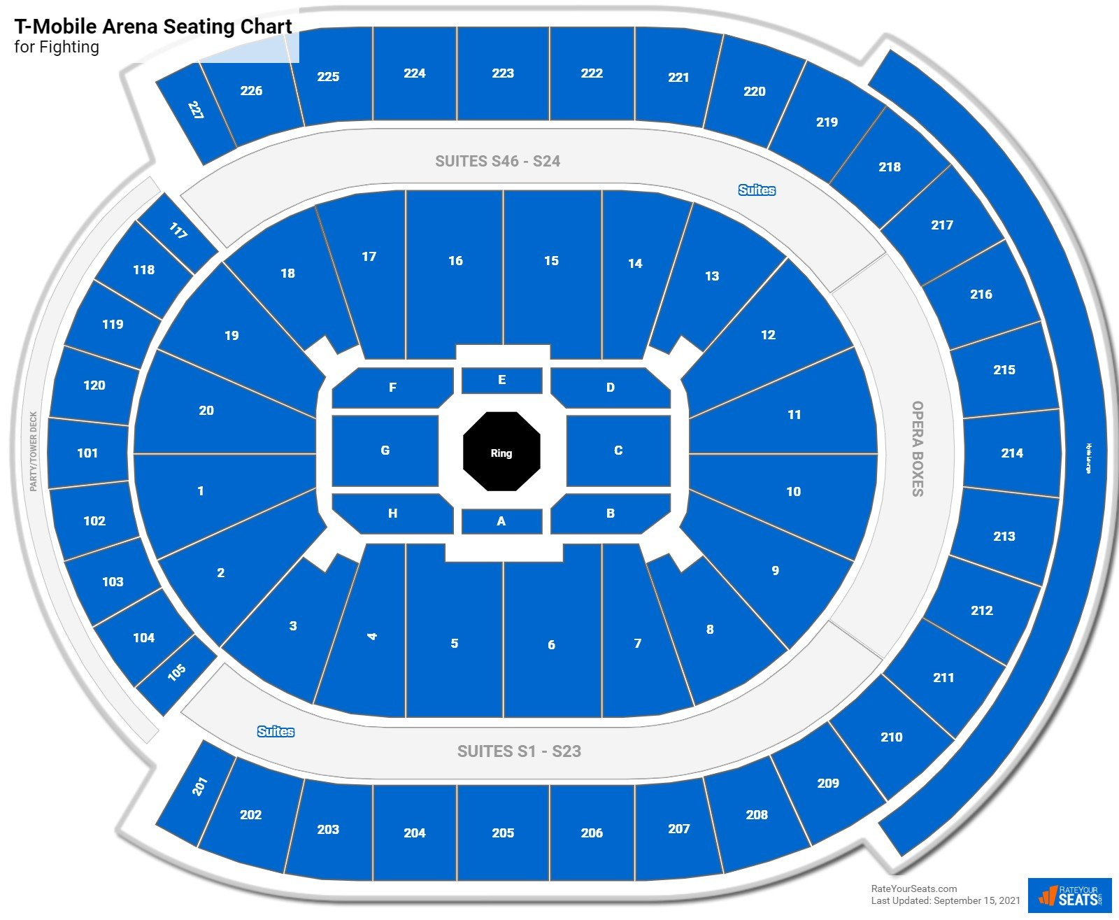 T-Mobile Arena Seating Chart for Fighting