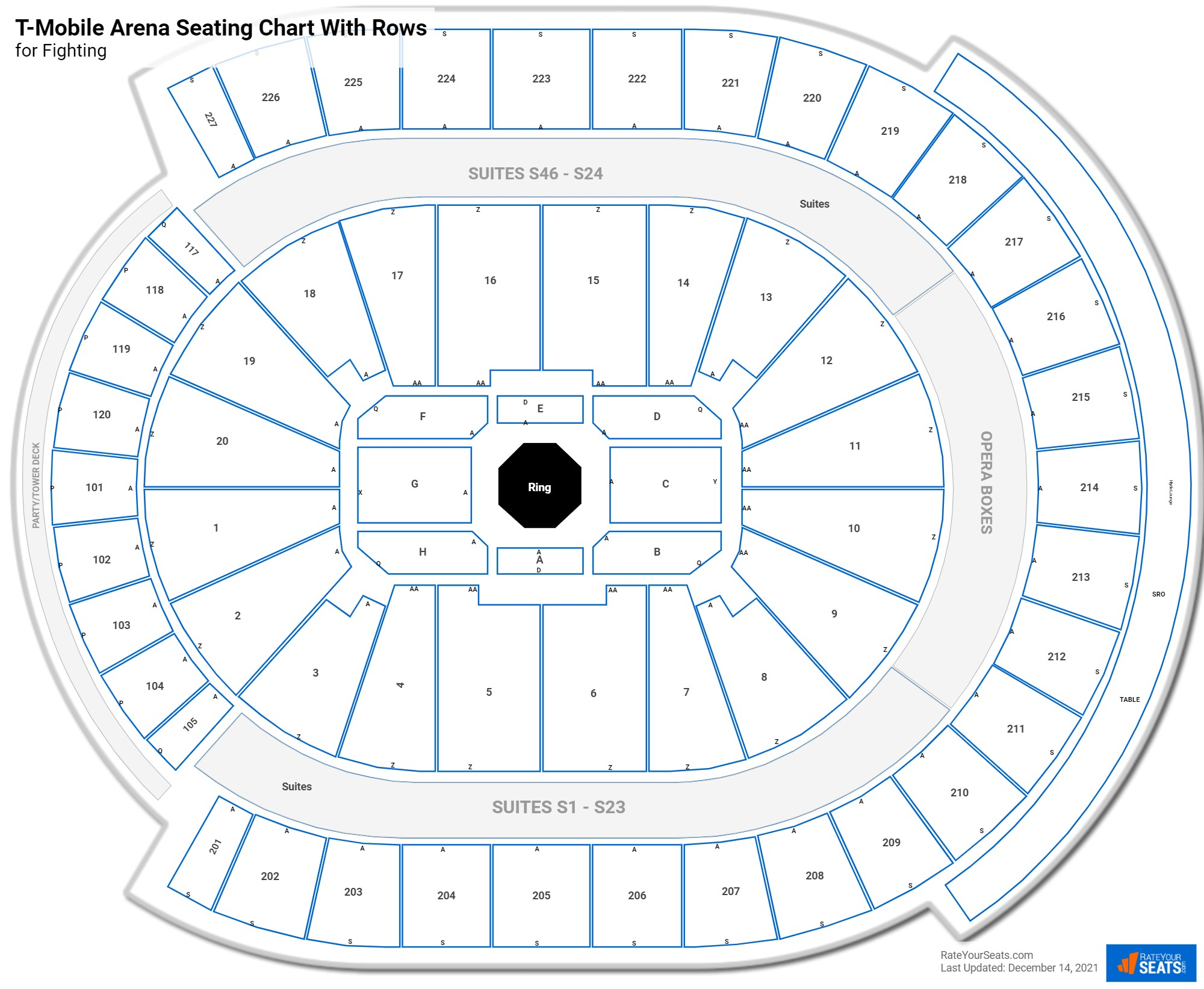 T-Mobile Arena seating chart with rows fighting