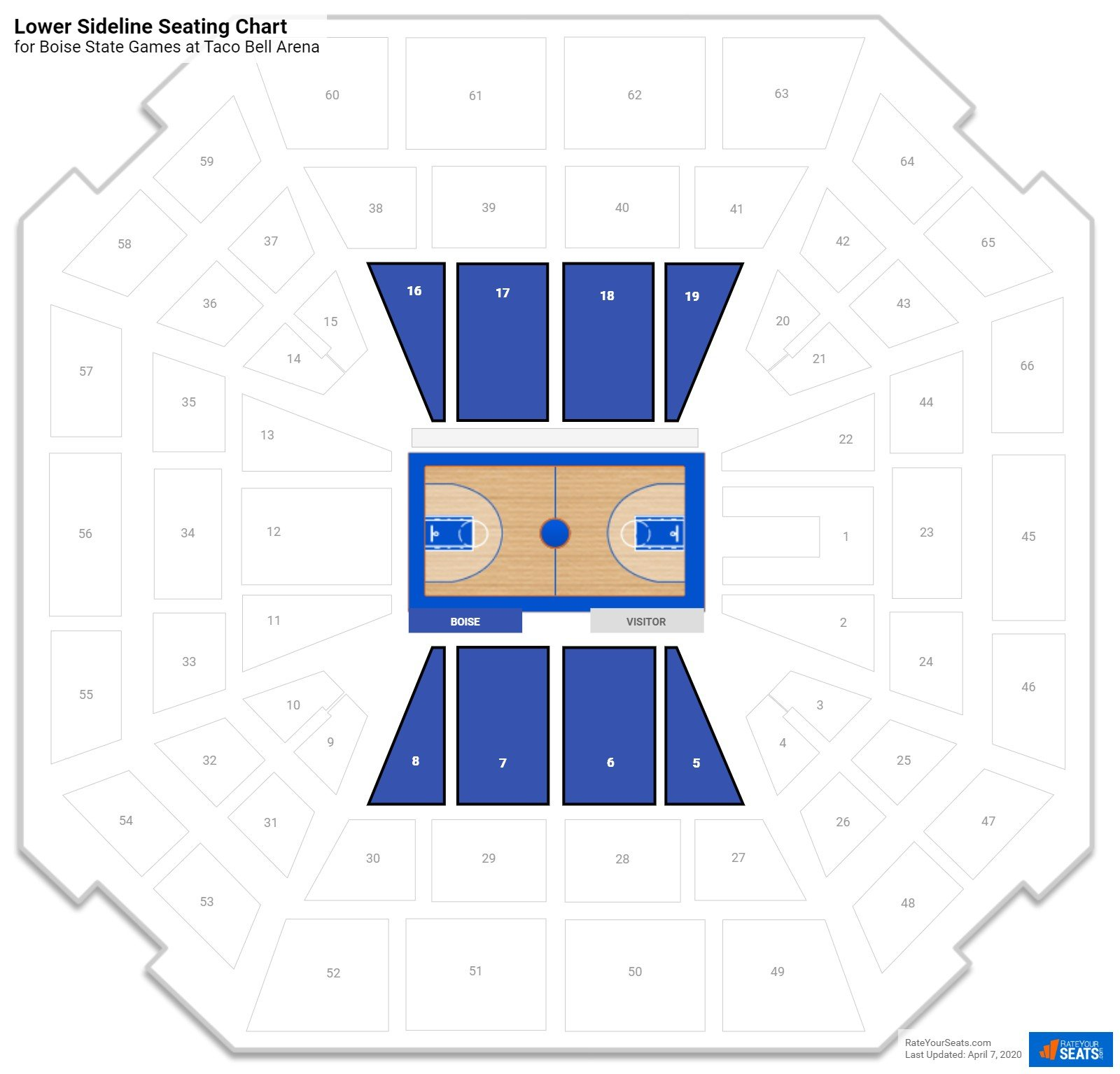 unlv interactive seating chart: Taco bell arena boise state seating guide rateyourseats com