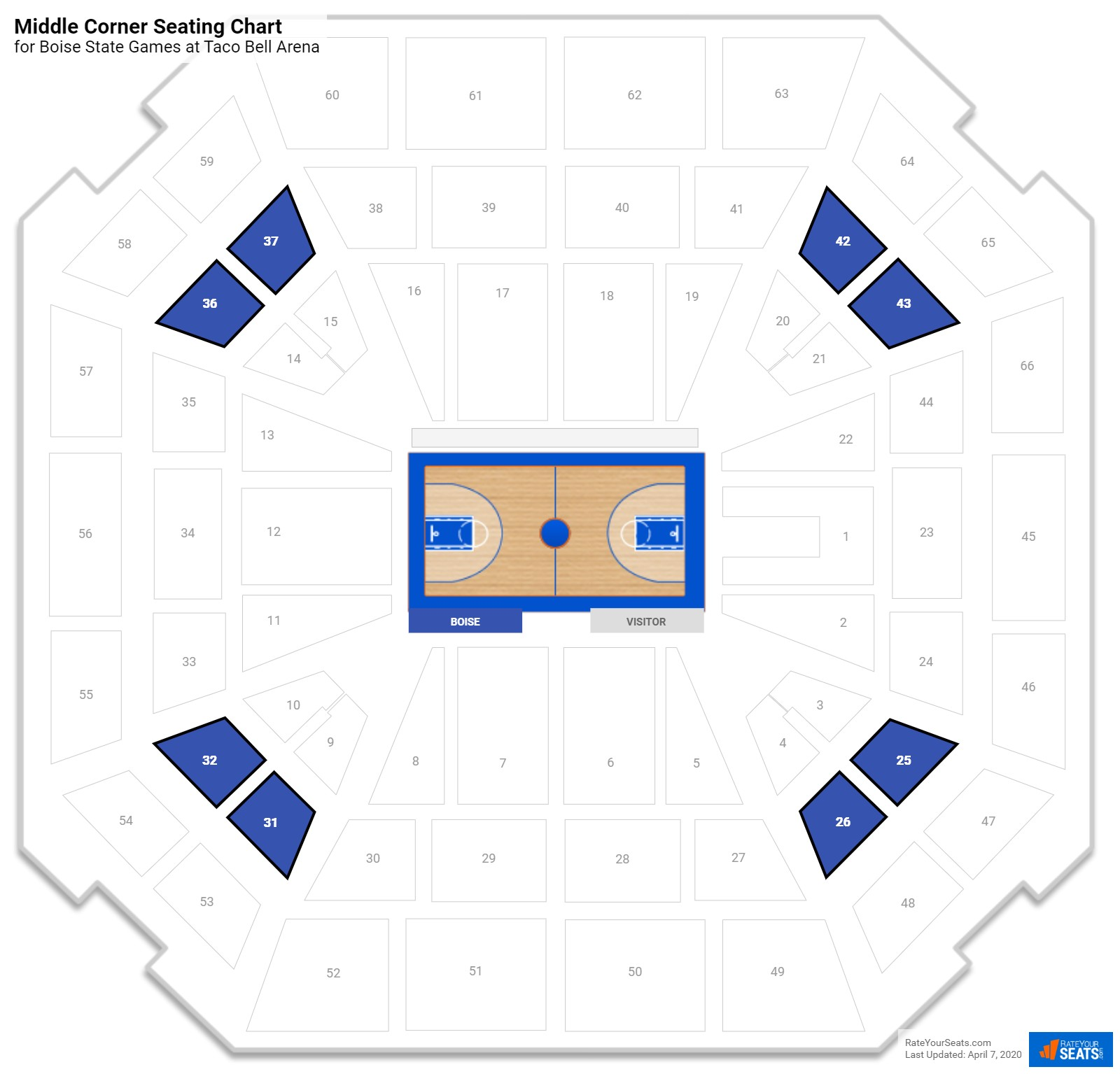 Taco Bell Arena Middle Level Corner seating chart