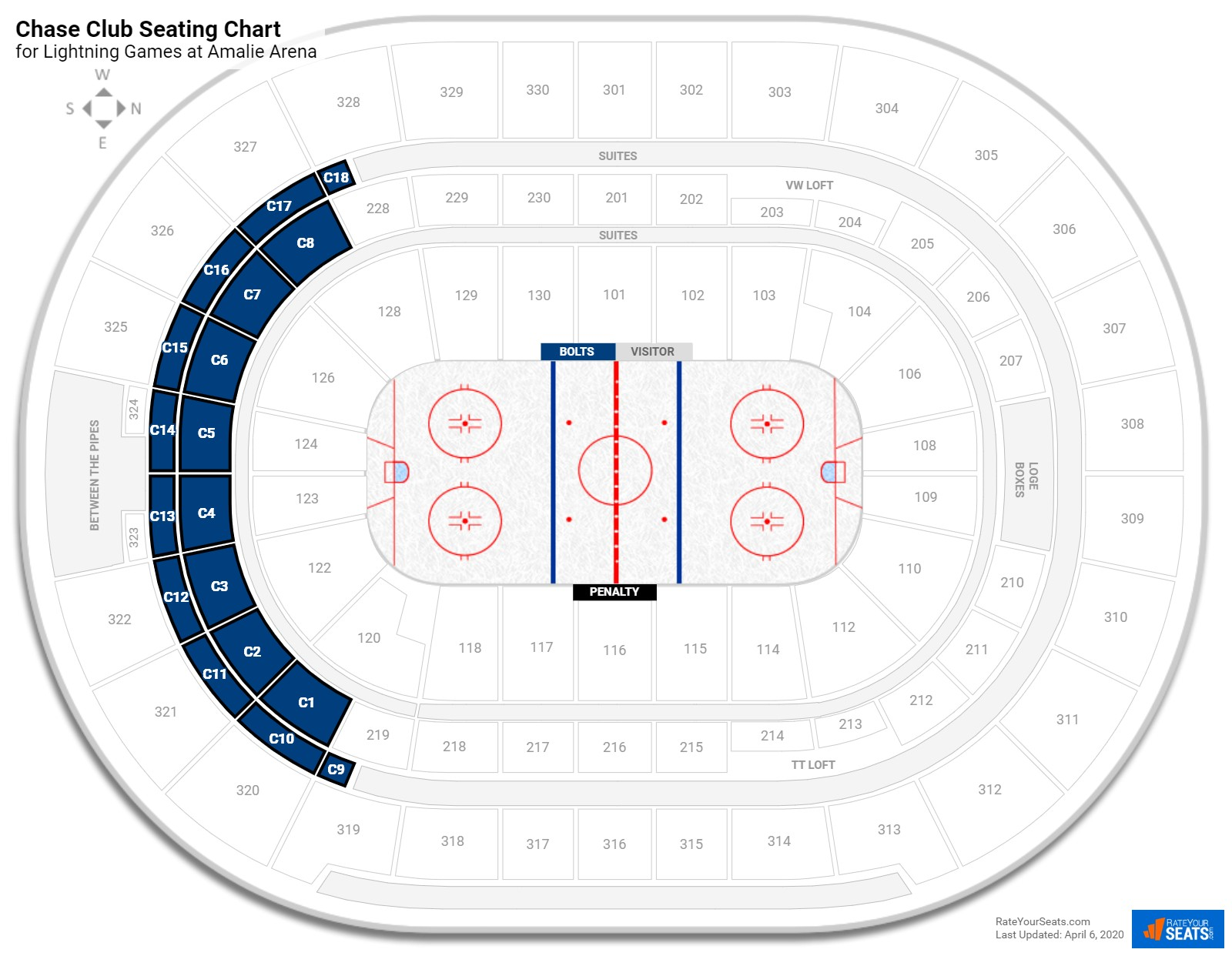 Amalie Arena Chase Club seating chart