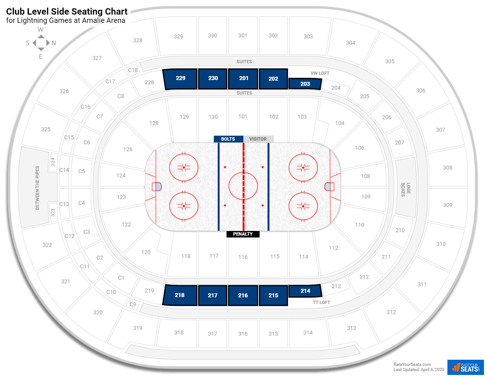 Amalie Arena Club Level Side seating chart
