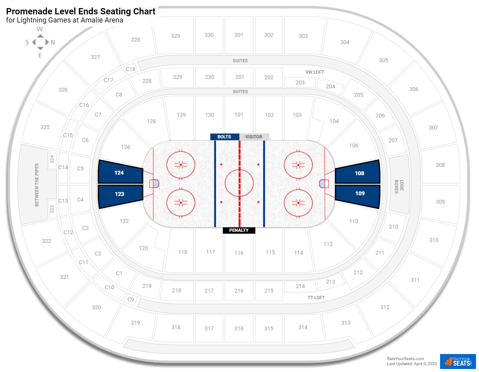 Amalie Arena Promenade Level Behind the Net seating chart