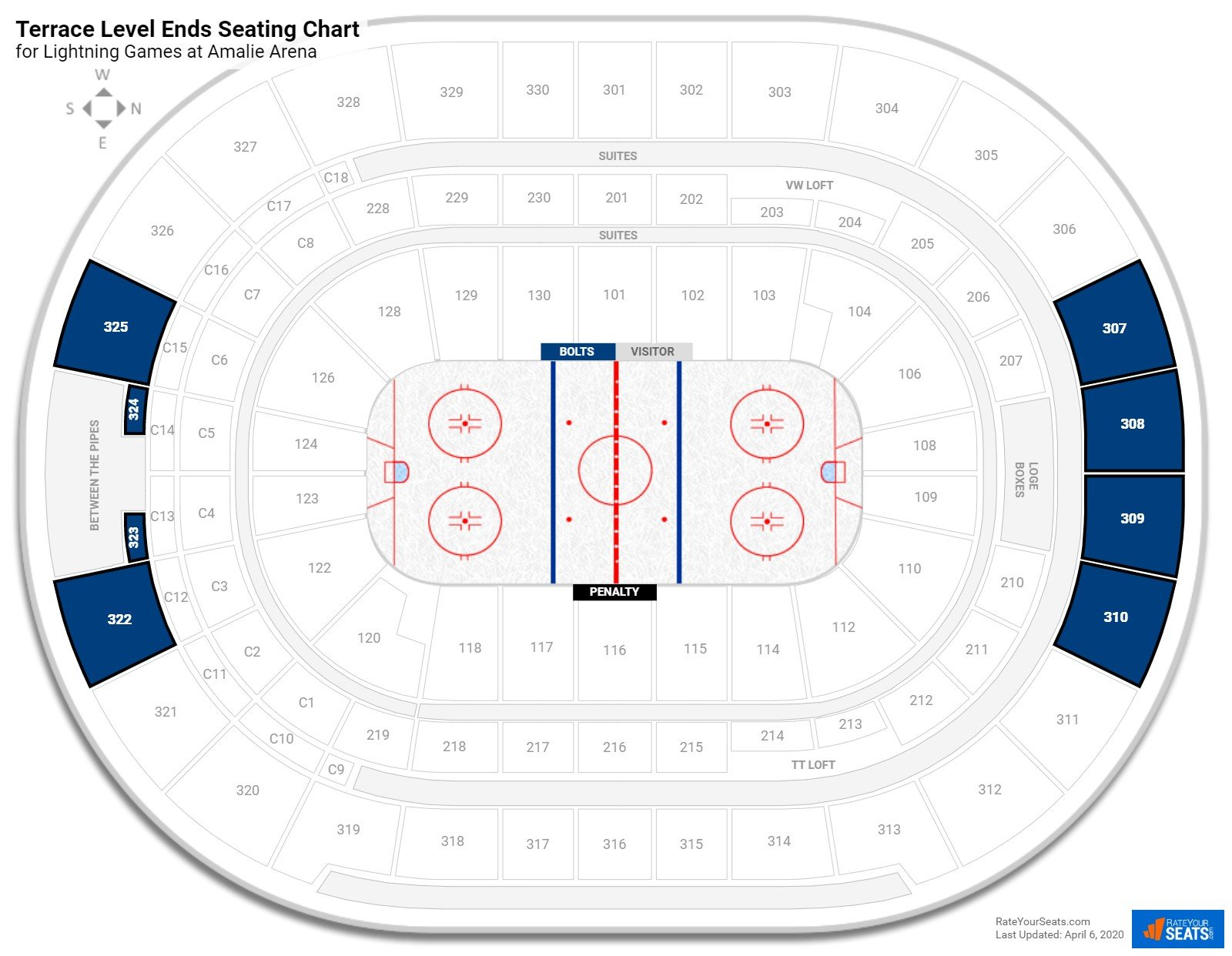 Amalie Arena Terrace Level Behind the Net seating chart
