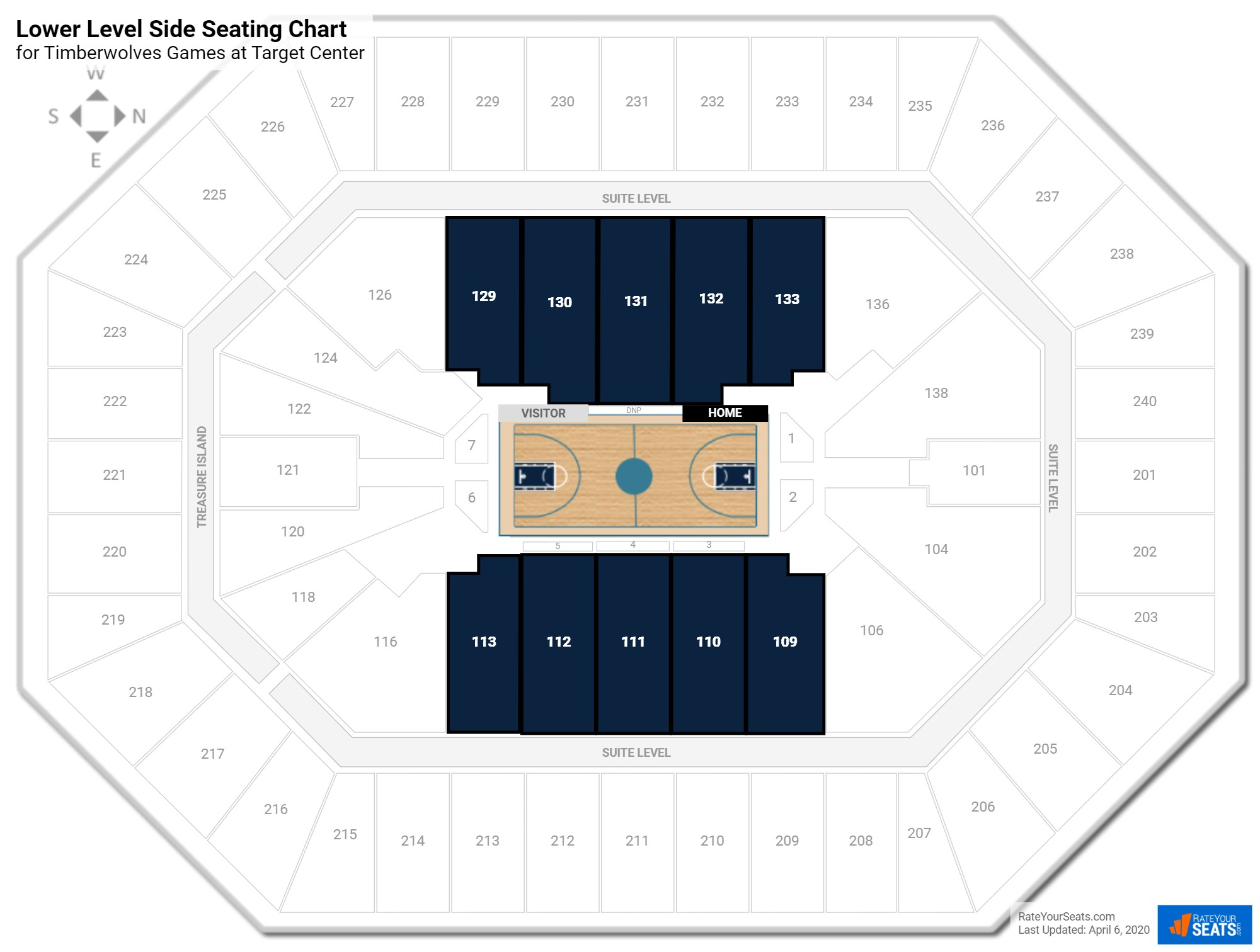 Target Center Lower Level Side seating chart