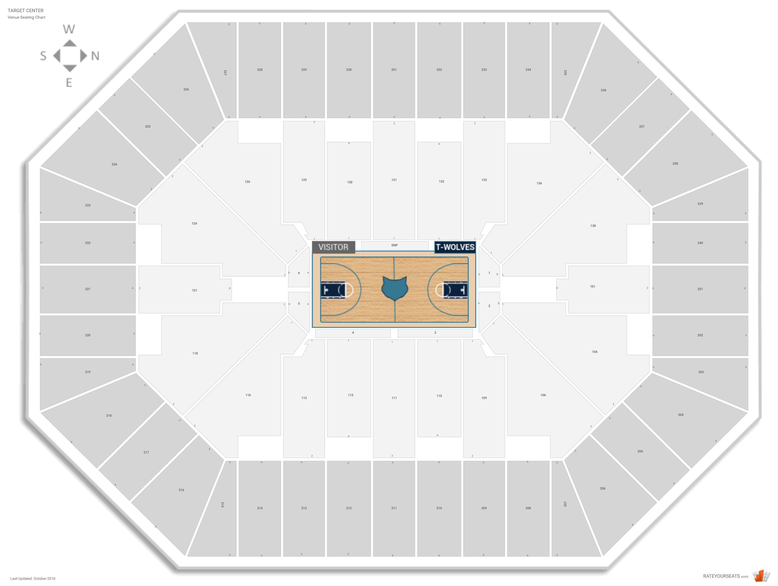 Target Center Seating Chart With Row Numbers