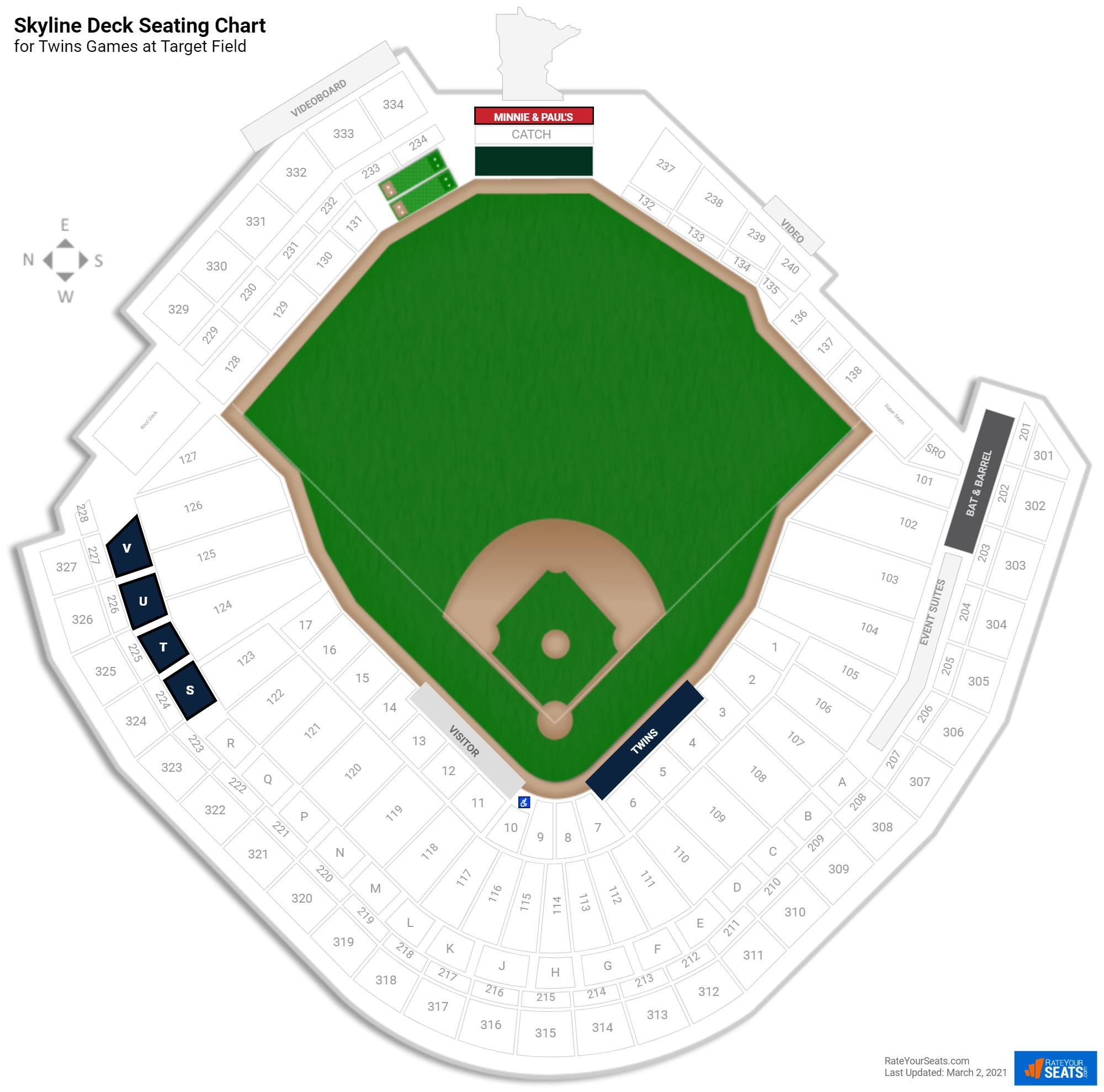 Target Field Skyline Deck seating chart