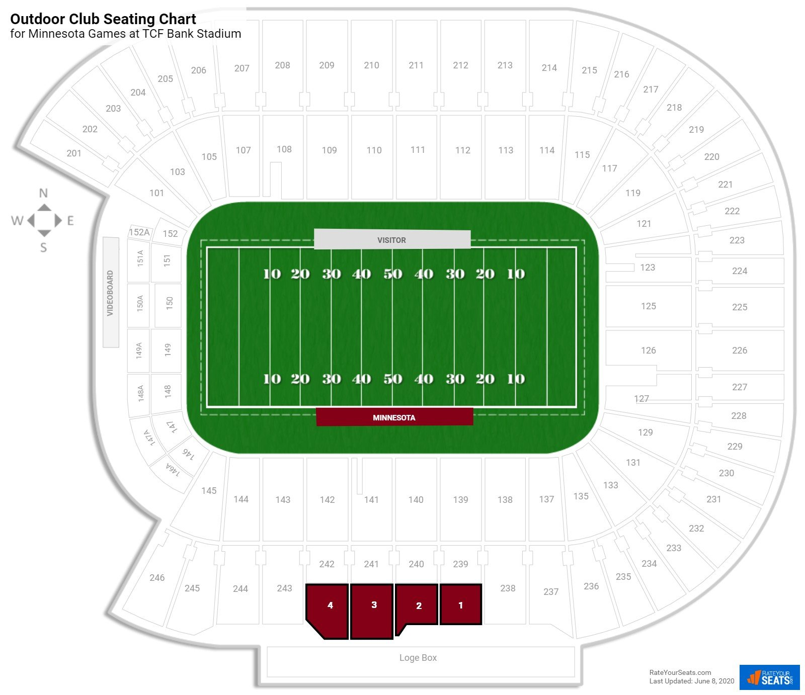 TCF Bank Stadium Outdoor Club seating chart